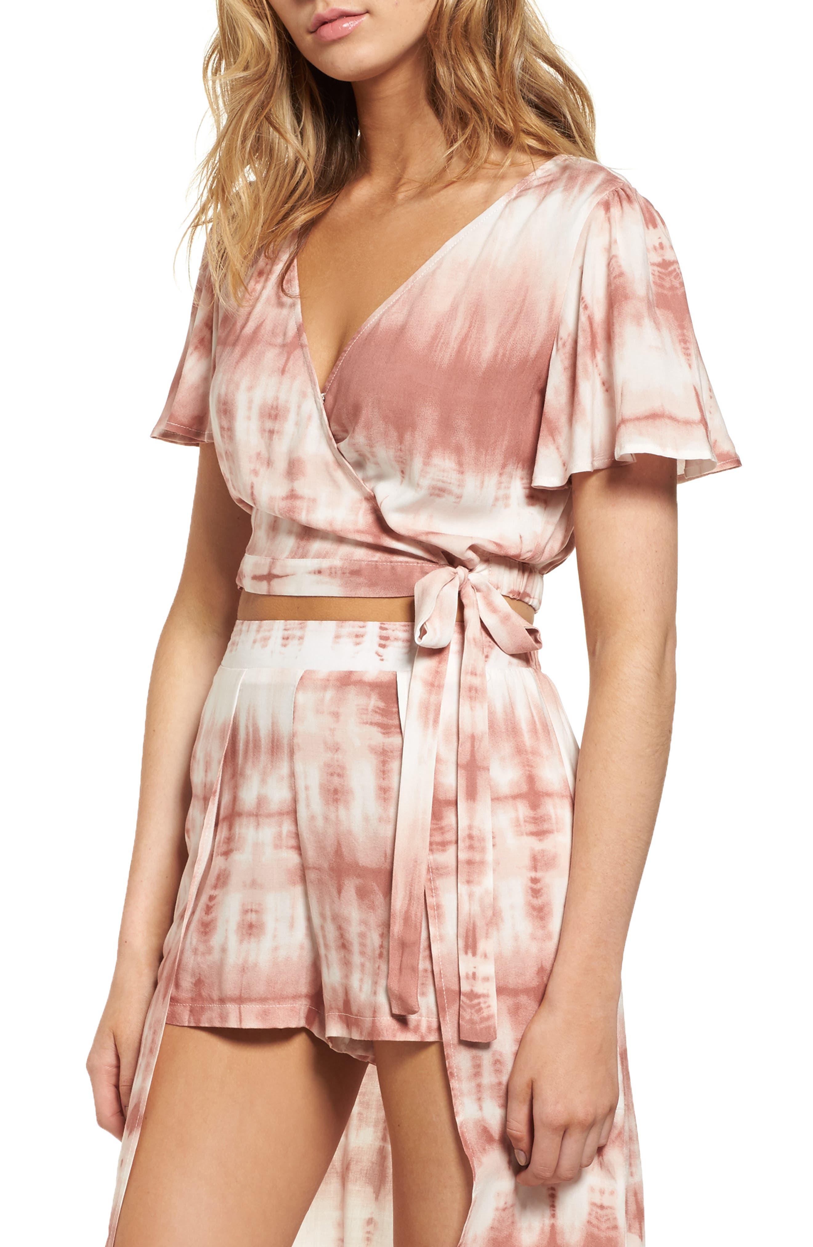 Mimi Chica Tie Dye Crop Wrap Top