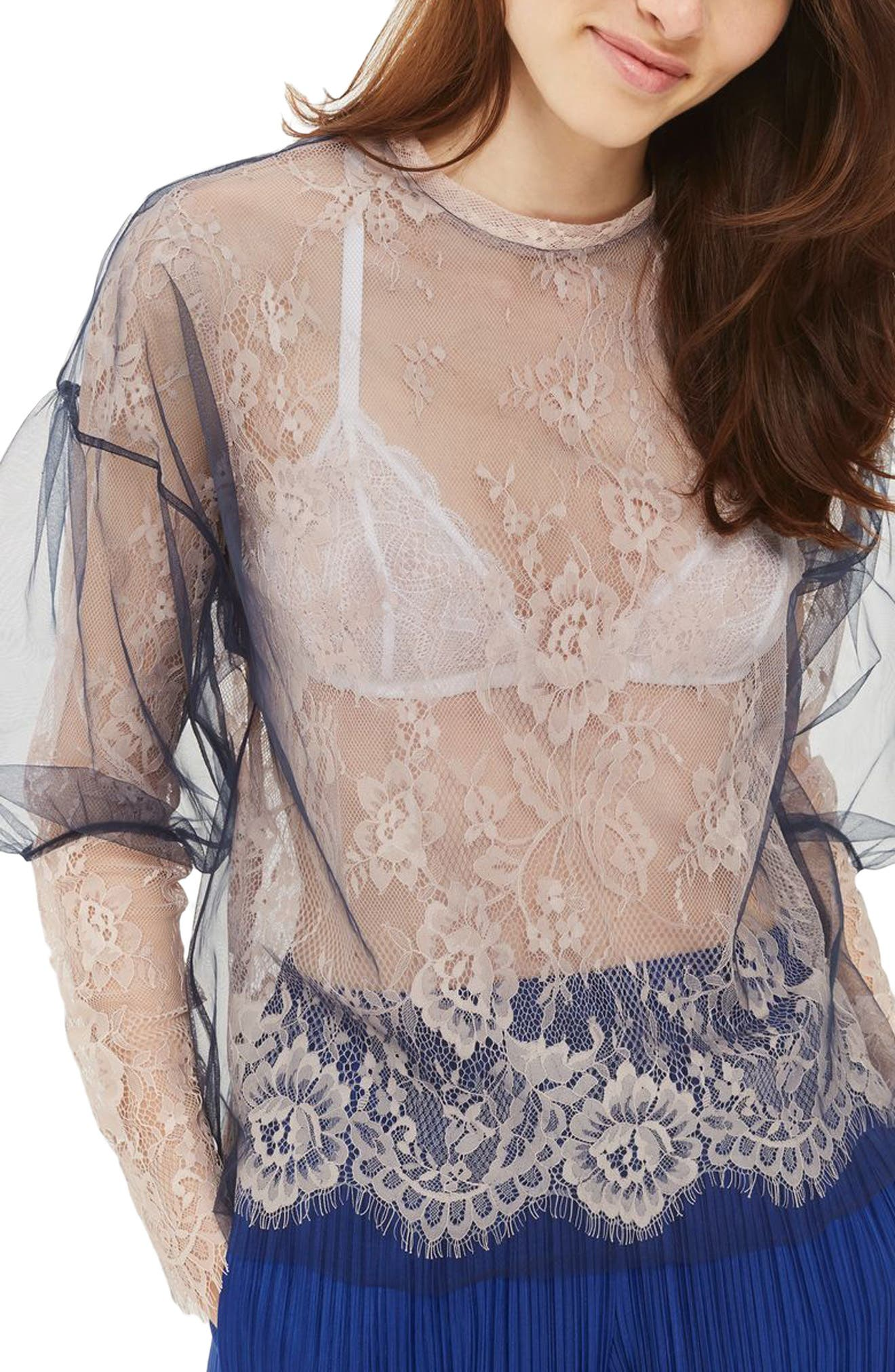 Topshop Tulle Overlay Lace Top