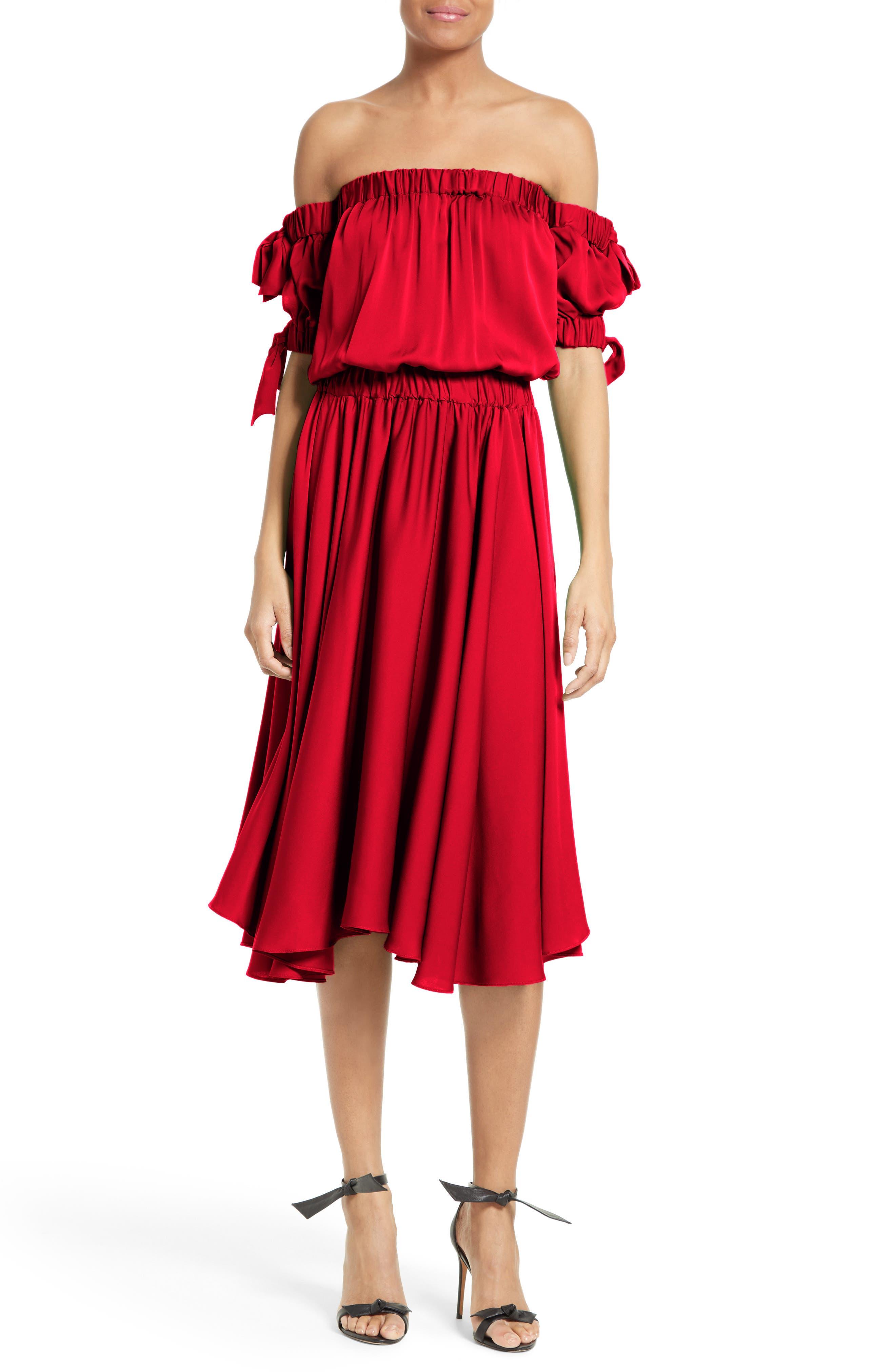 Milly Zoey Off the Shoulder Stretch Silk Midi Dress