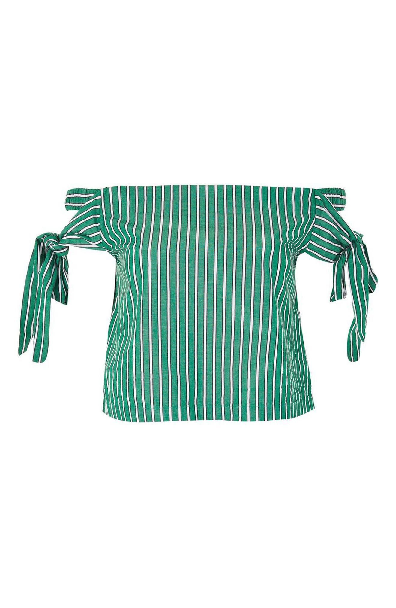 Alternate Image 4  - Topshop Bardot Tie Sleeve Stripe Top