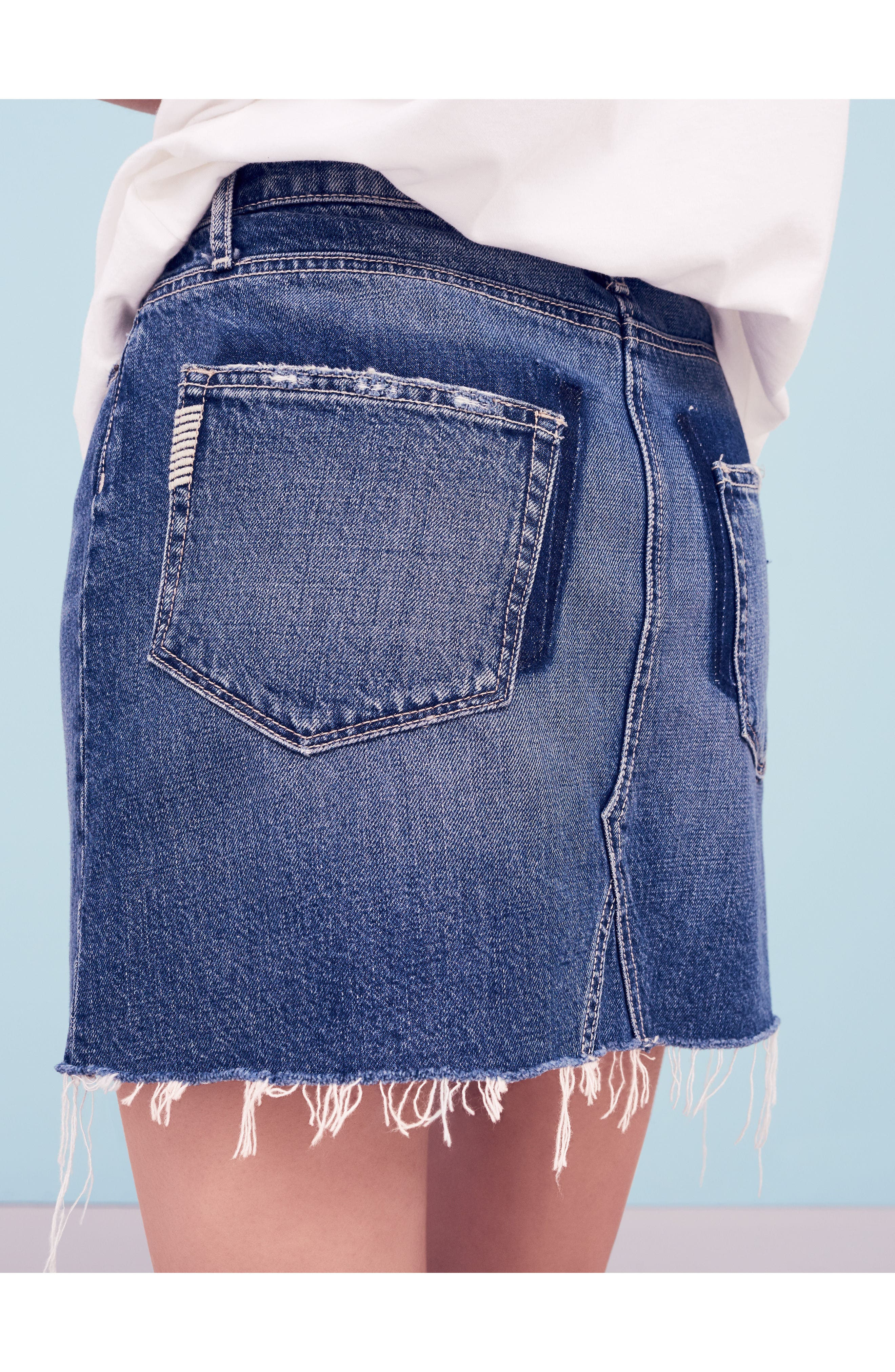 Alternate Image 7  - PAIGE Alethea Cutoff Denim Miniskirt