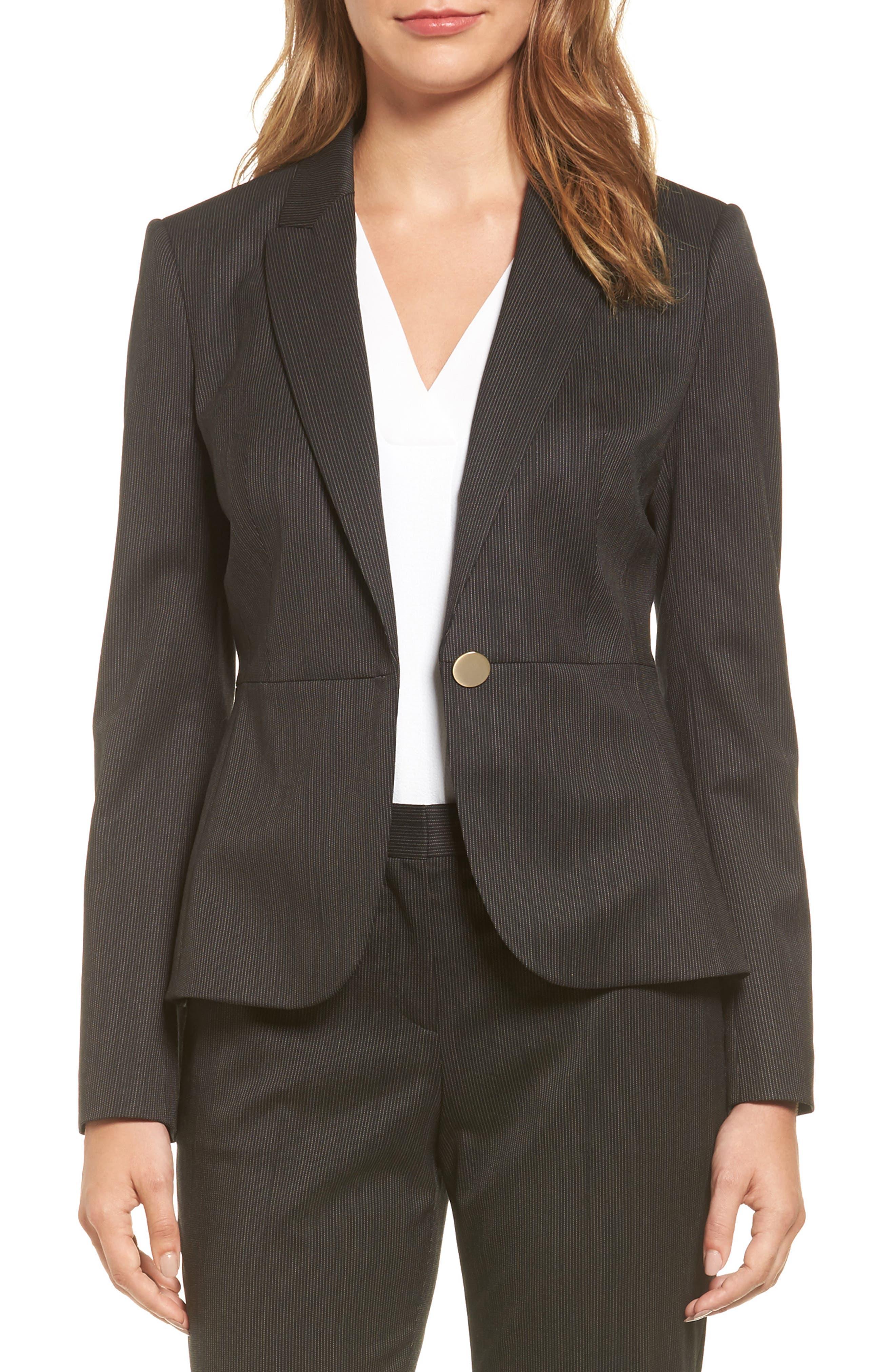 BOSS Jelanika Pinstripe One-Button Suit Jacket