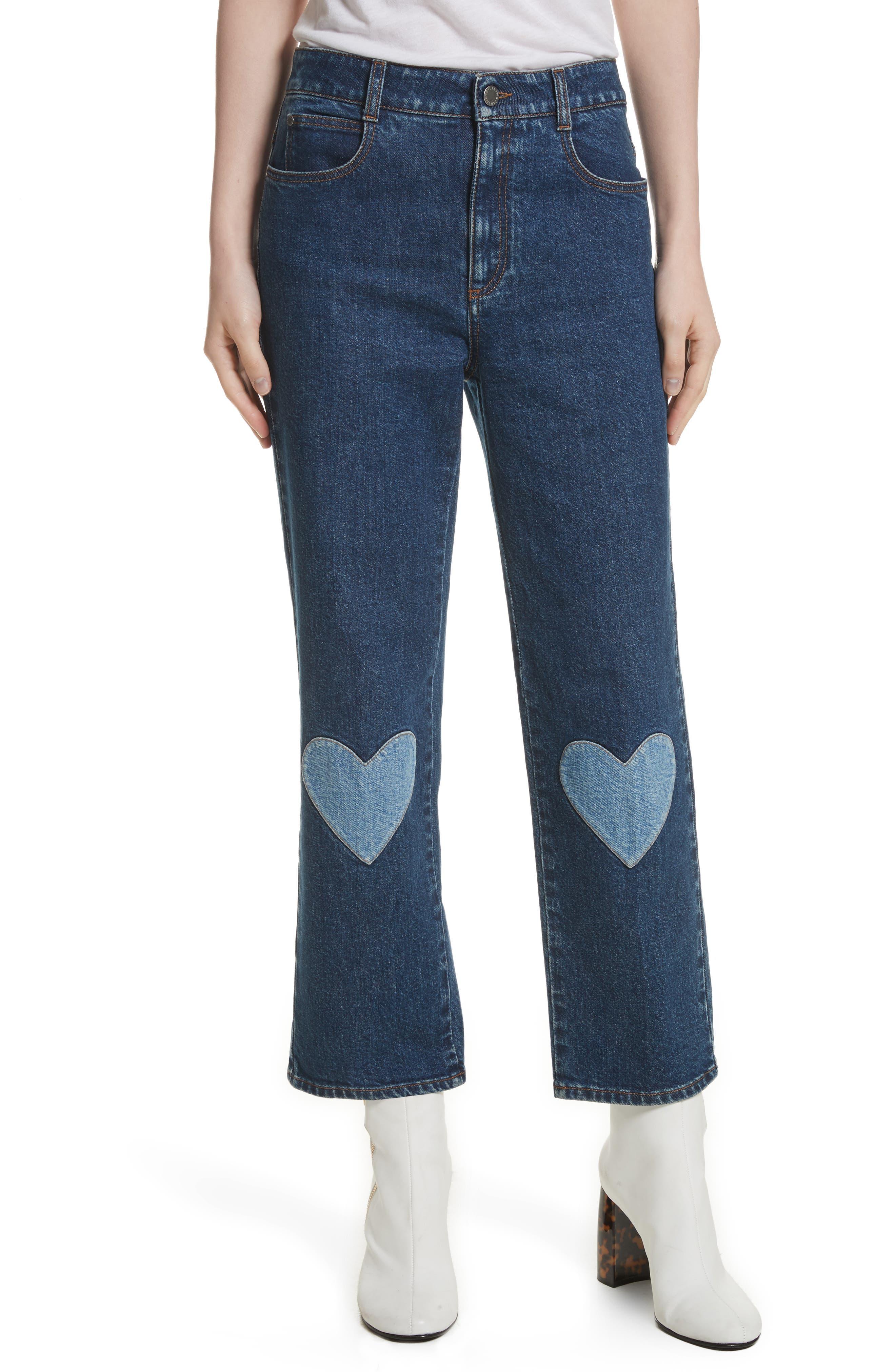 Stella McCartney Heart Patch High Waist Crop Jeans