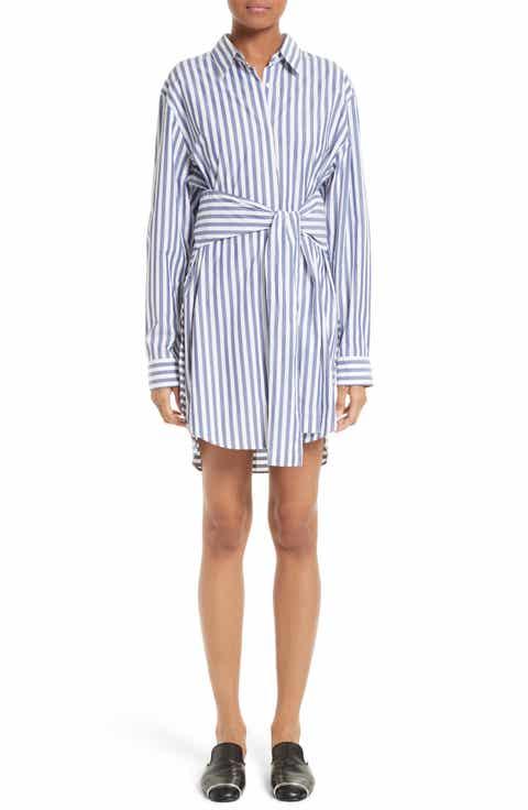 T by Alexander Wang Stripe Tie Front Shirtdress