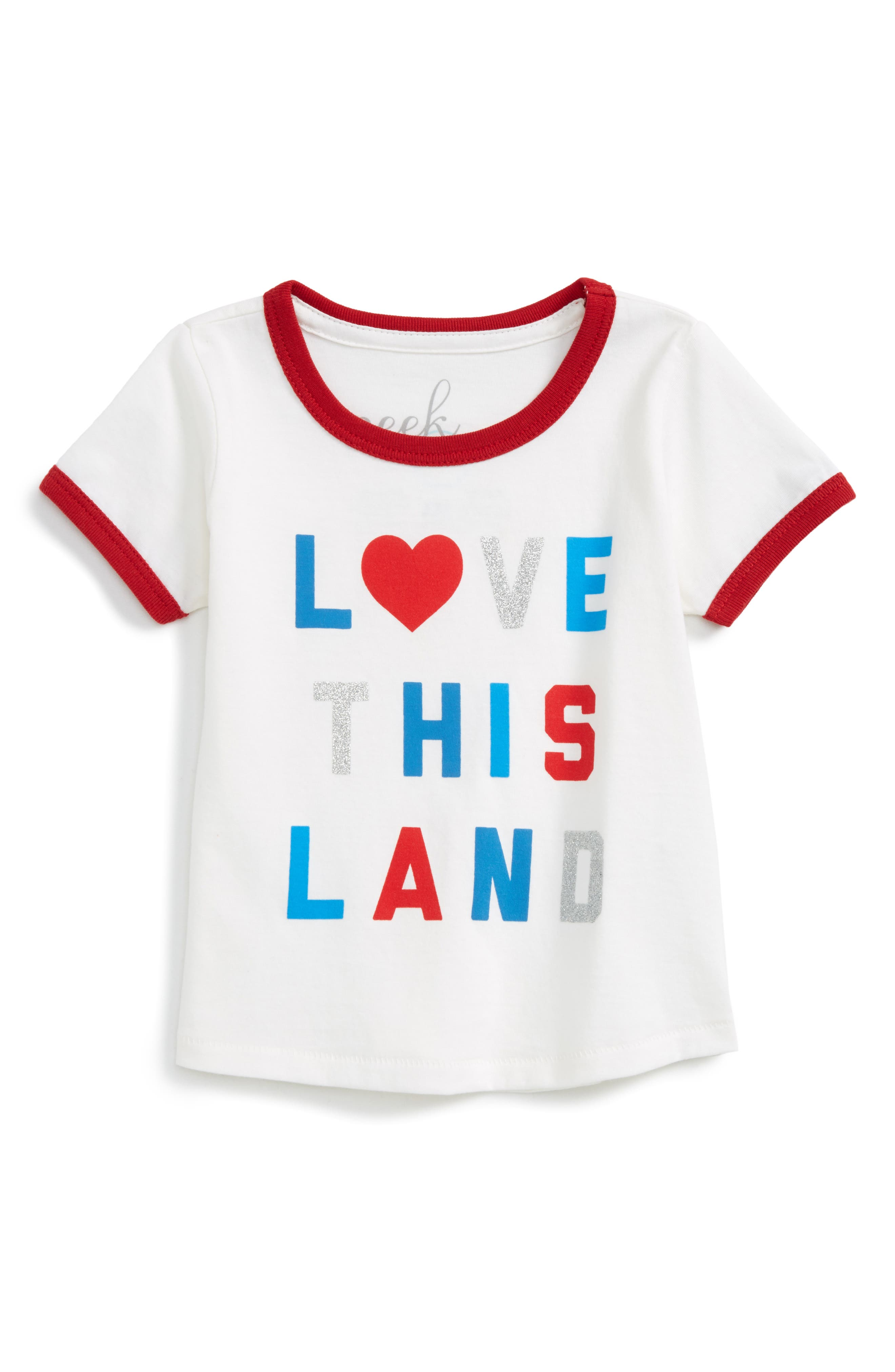 Peek Love This Land Ringer Tee (Baby Girls)