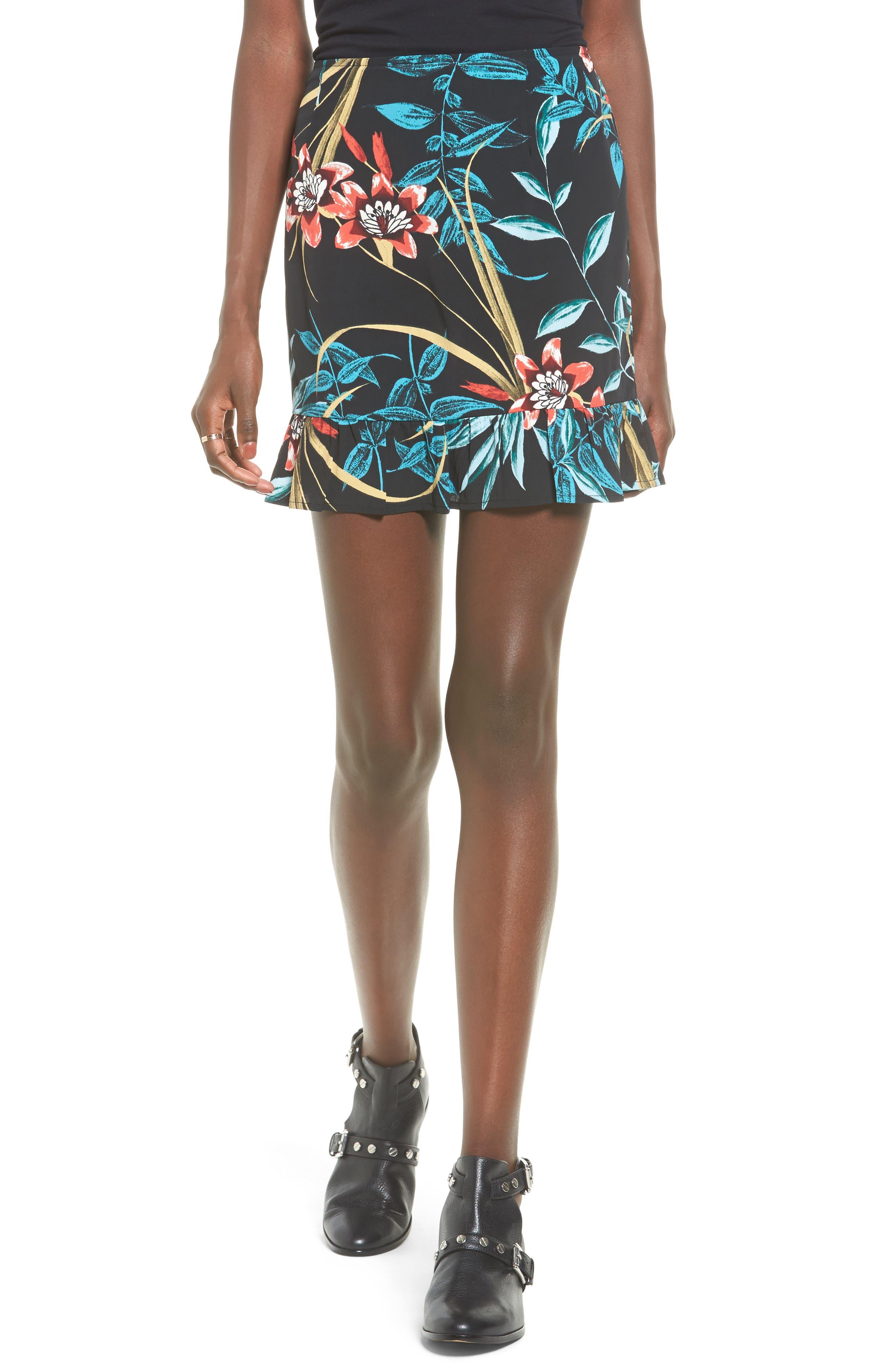 Band of Gypsies Tropical Print Ruffle Hem Skirt