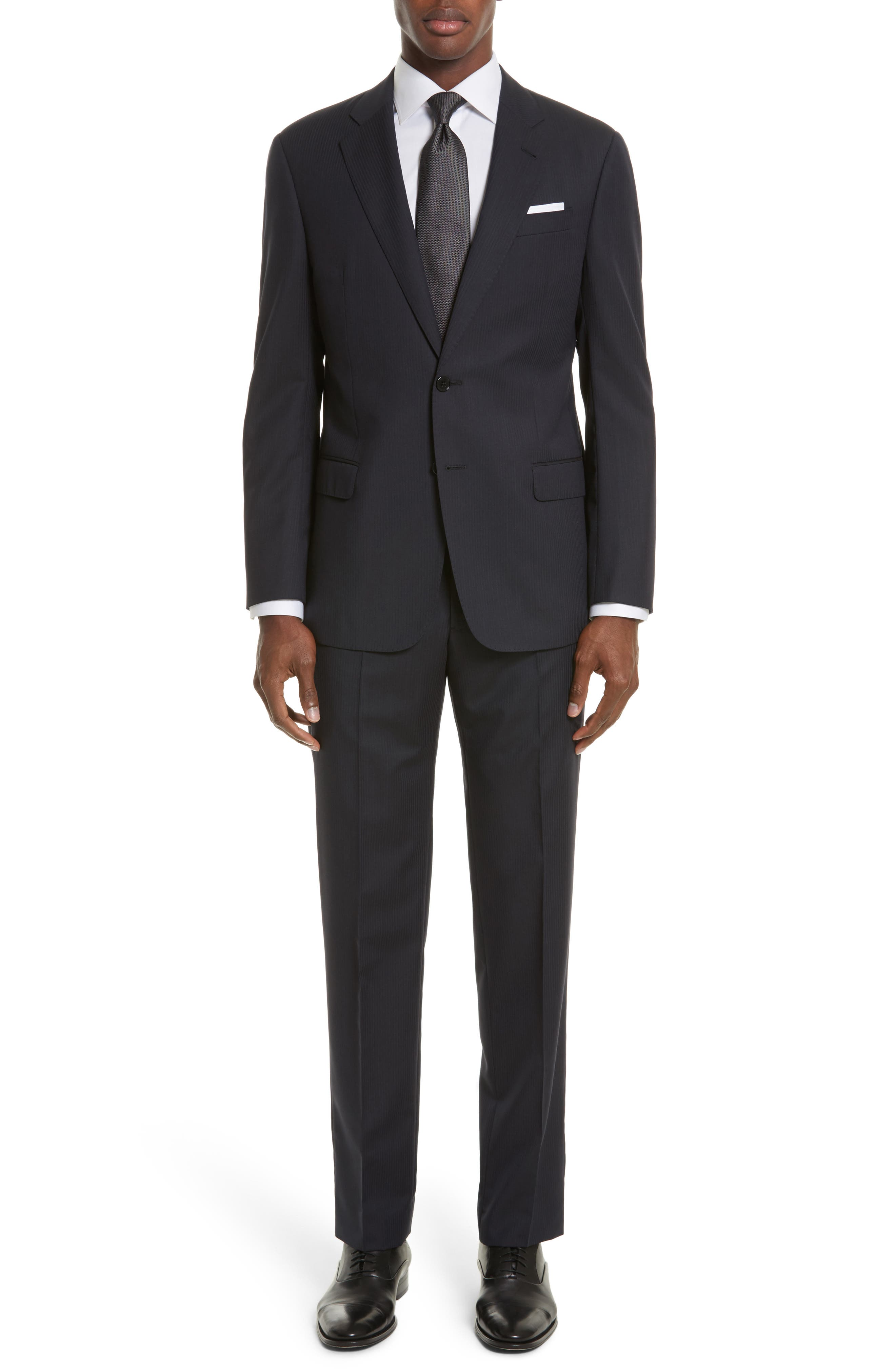 Armani Collezioni Trim Fit Stripe Wool Suit