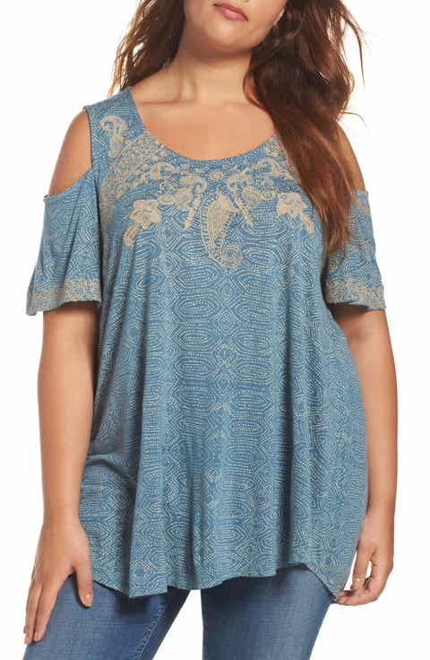 Lucky Brand Embroidered Cold Shoulder Top (Plus Size)