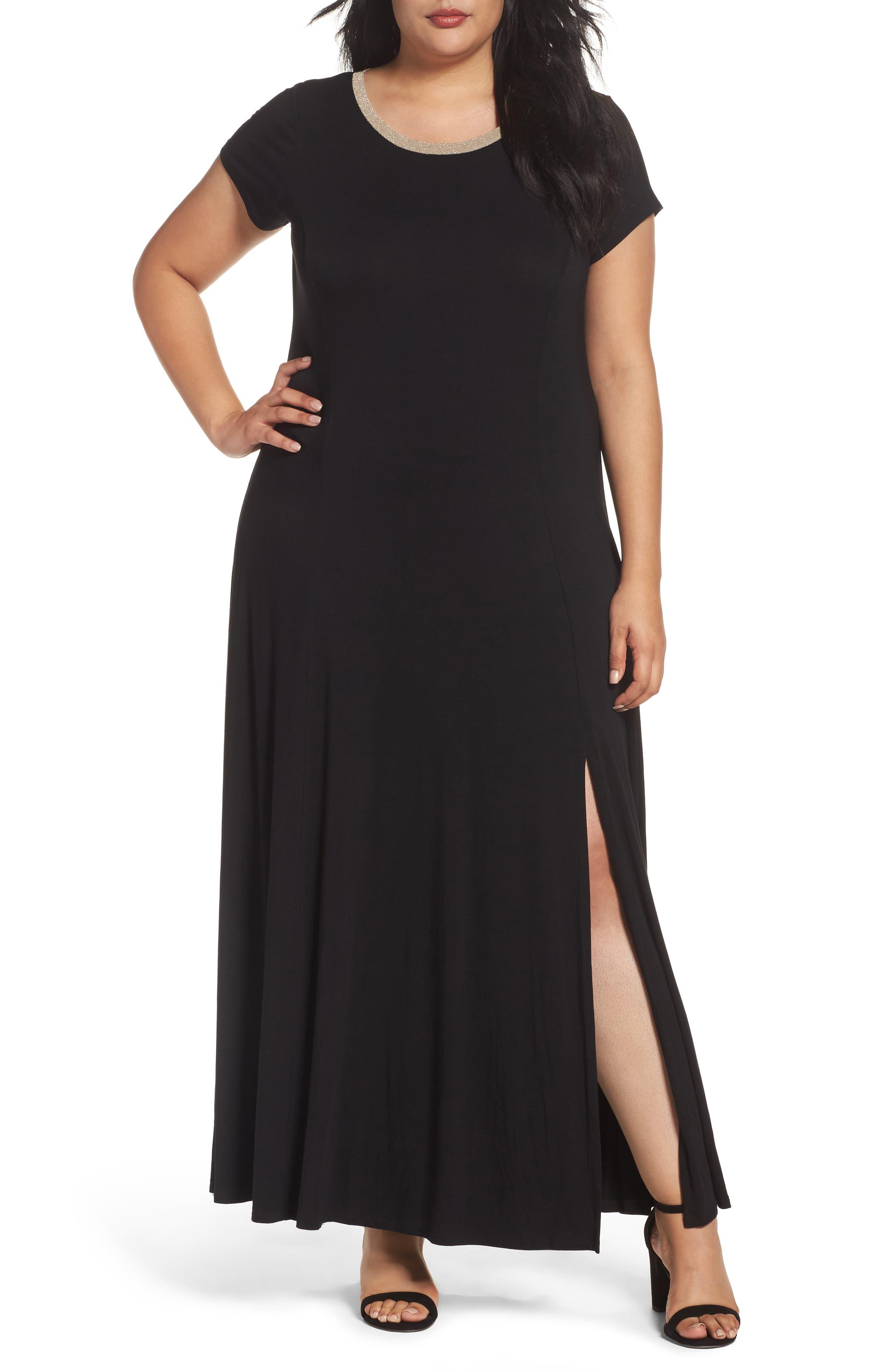 MICHAEL Michael Kors Metallic Trim Jersey A-Line Maxi Dress (Plus Size)