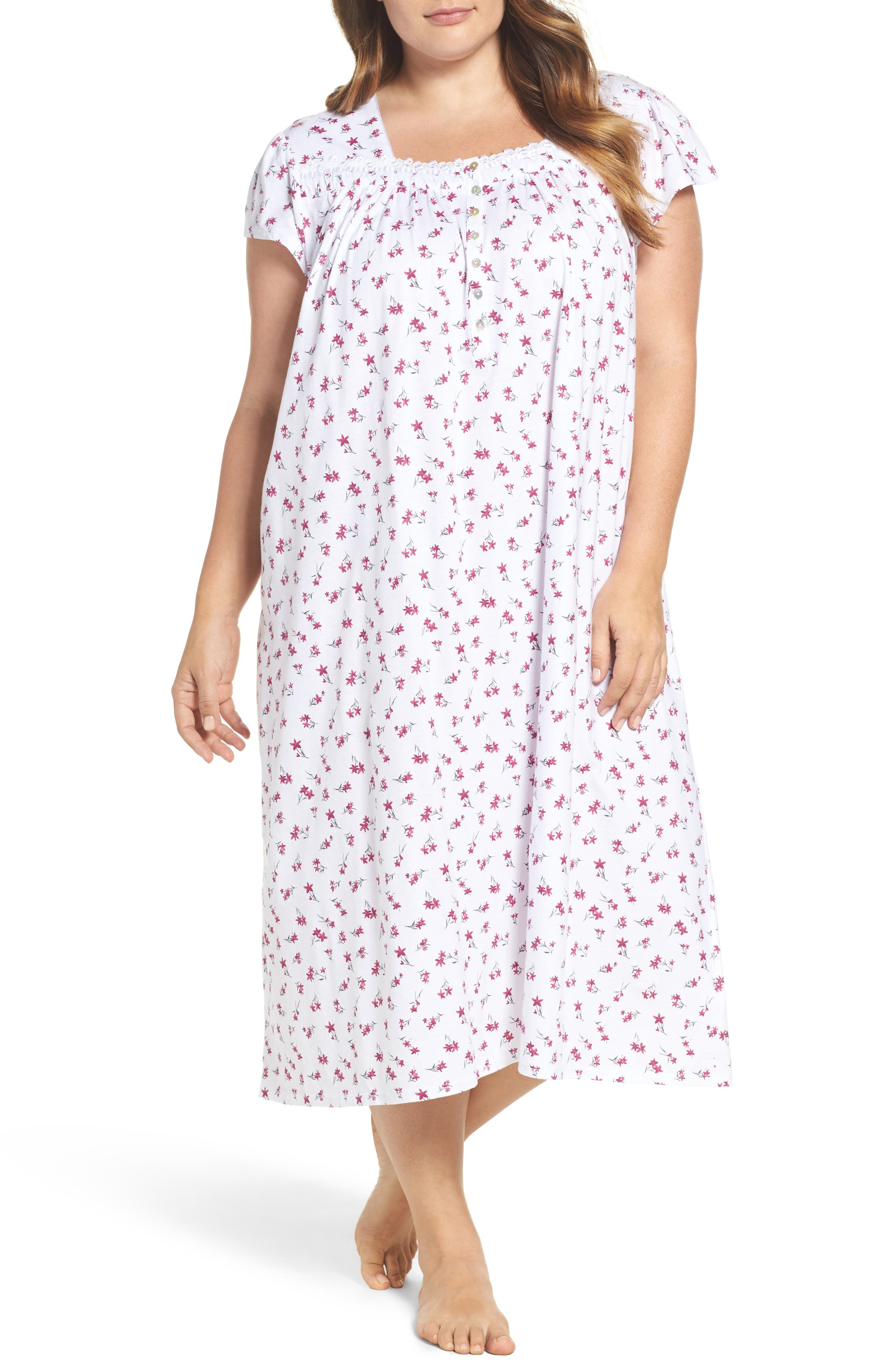 Eileen West Print Cotton Nightgown (Plus Size)