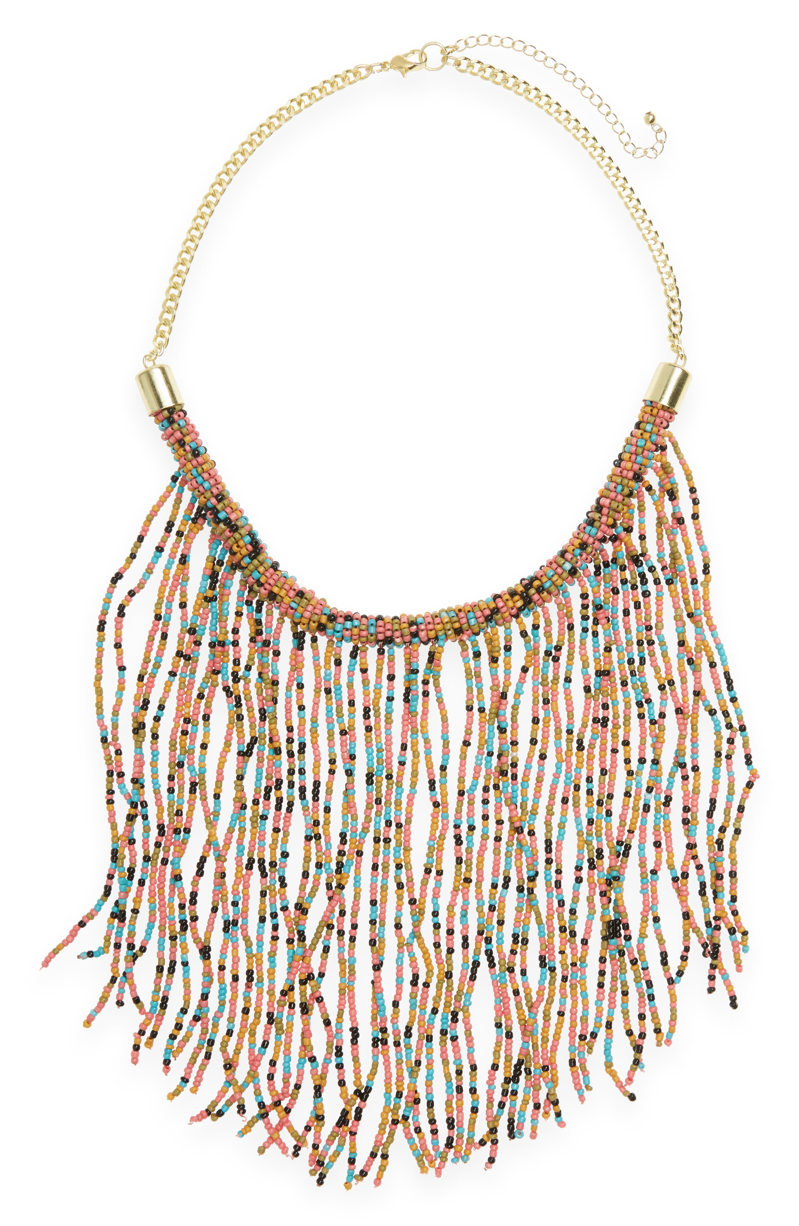 Panacea Beaded Fringe Statement Necklace