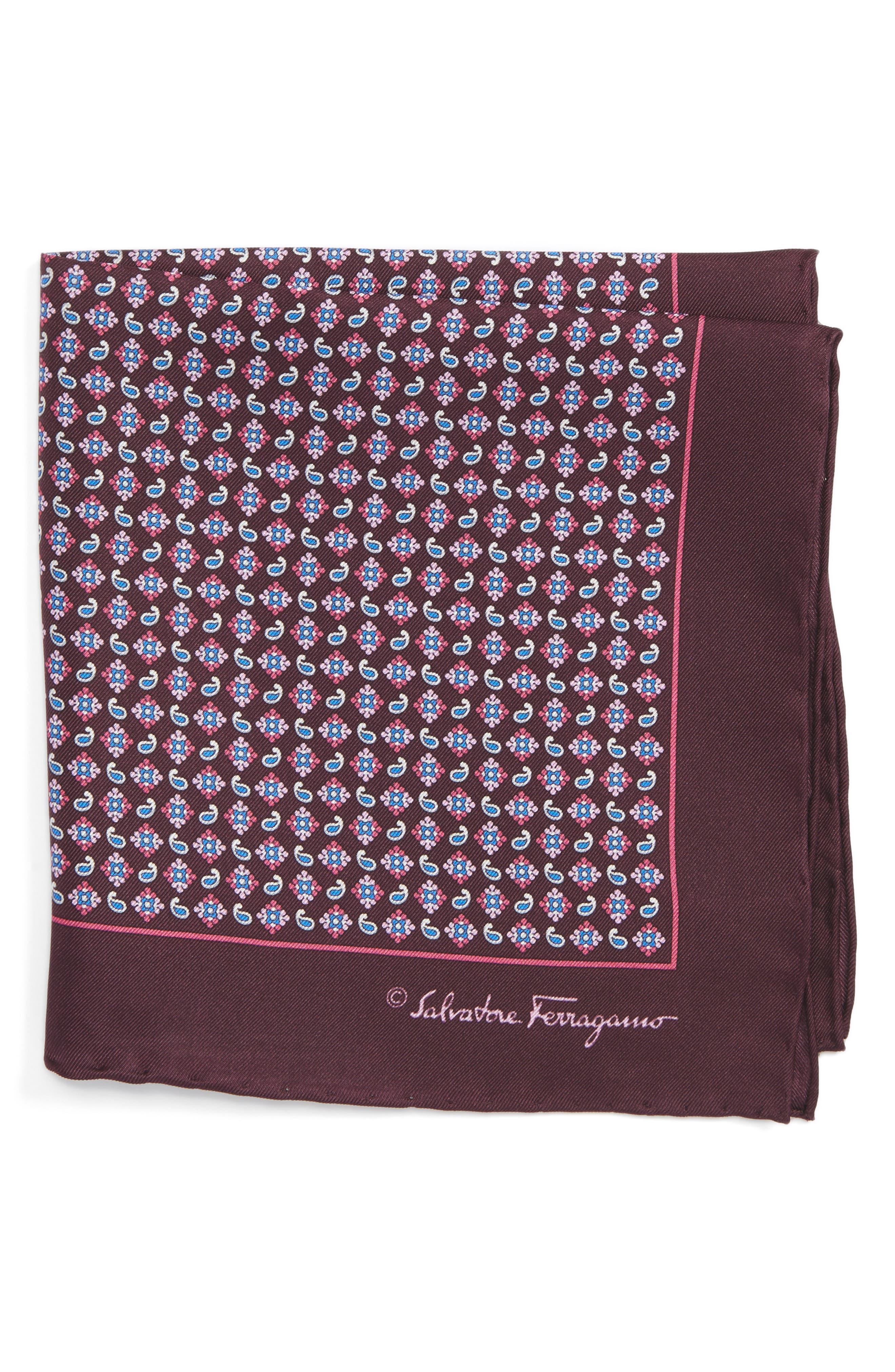 Salvatore Ferragamo Paisley Print Silk Pocket Square