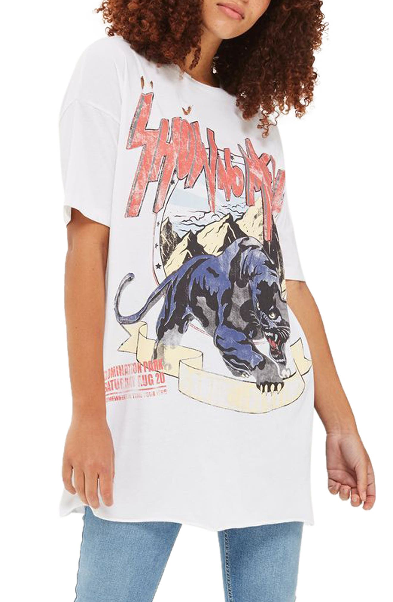 Topshop Oversize Destroyed Rocker Tee