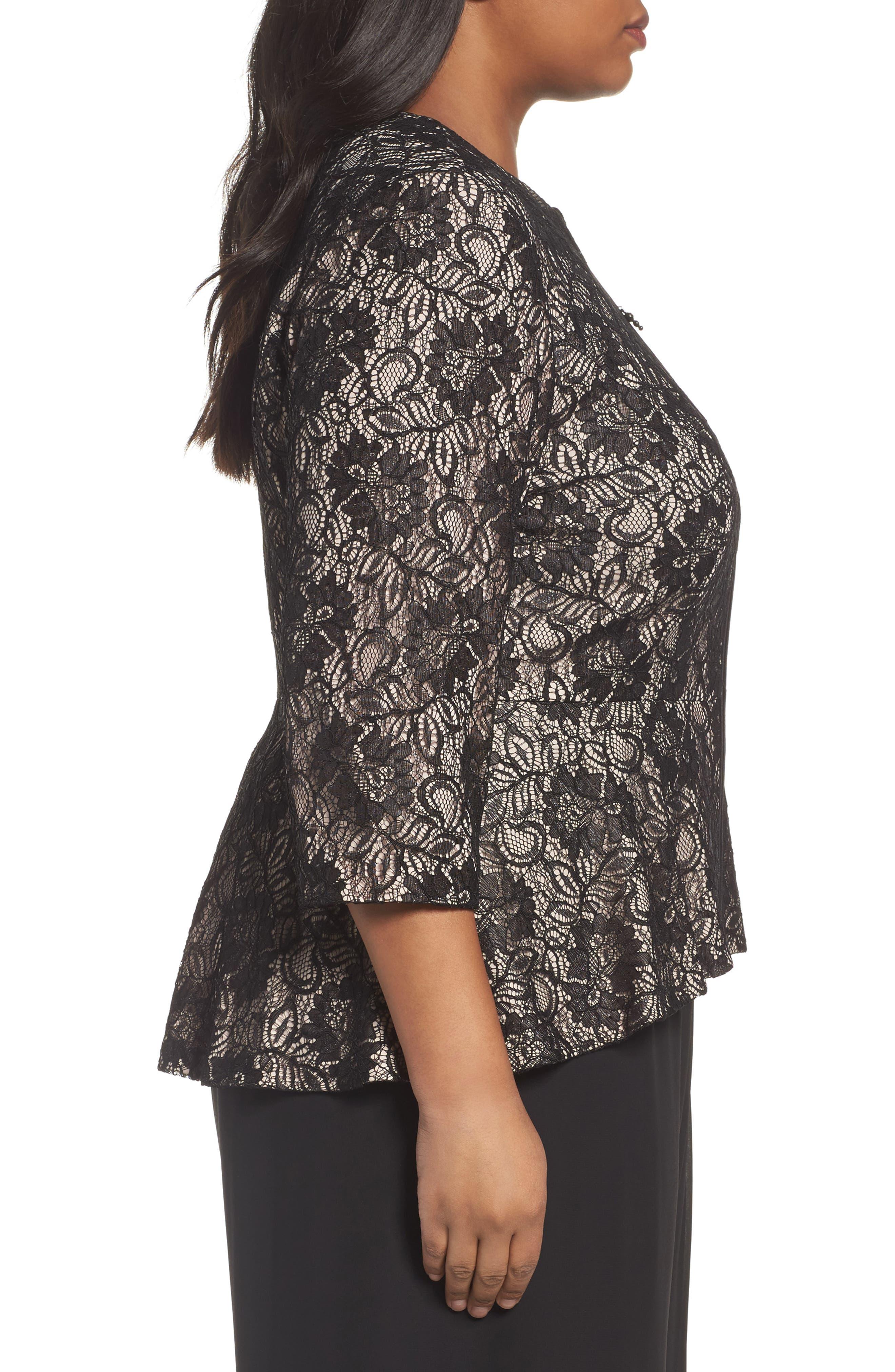 Alternate Image 3  - Alex Evenings Collarless Metallic Lace Jacket (Plus Size)