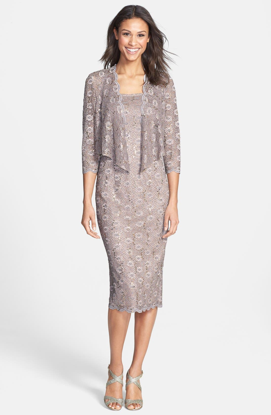 Petite Lace Sequined Dress with Matching Jacket Famous Maker isn't a brand, think of it as a deal so fabulous we can't even reveal the actual label. It's just one of the many ways we work hard to bring you top designers and brands at amazing values.
