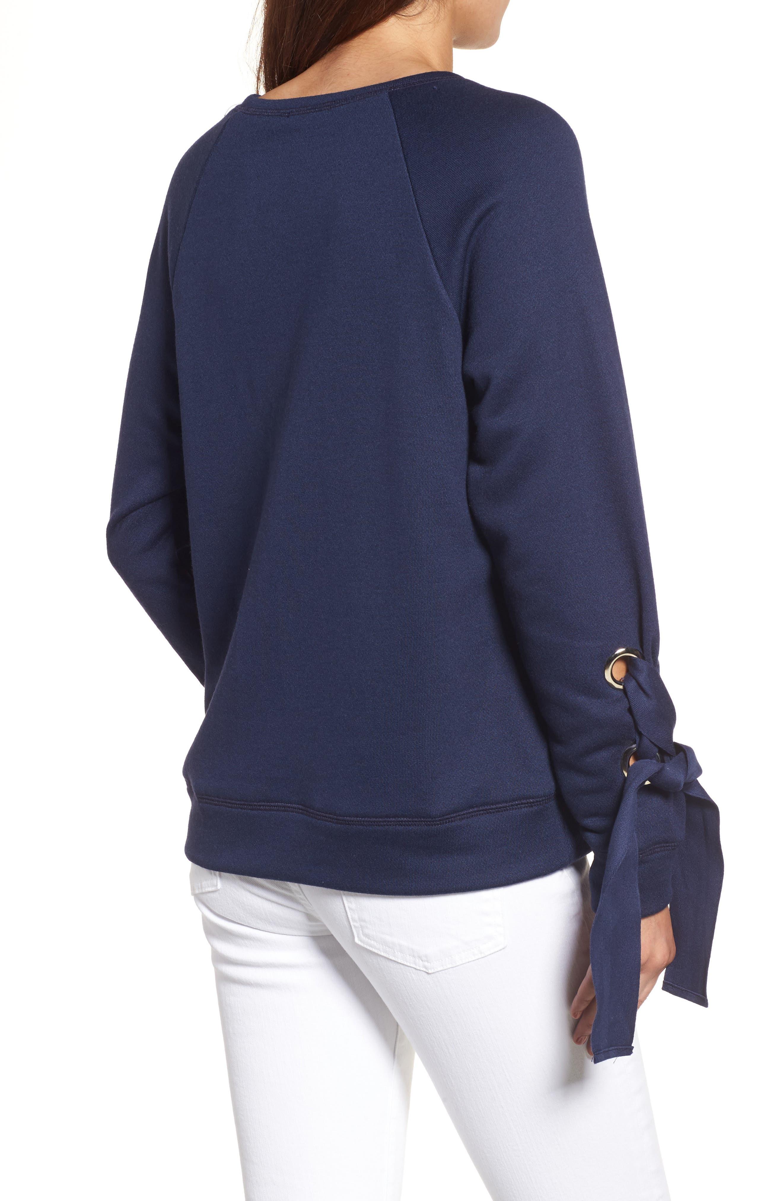Alternate Image 2  - Halogen® Tie Sleeve Sweatshirt (Regular & Petite)