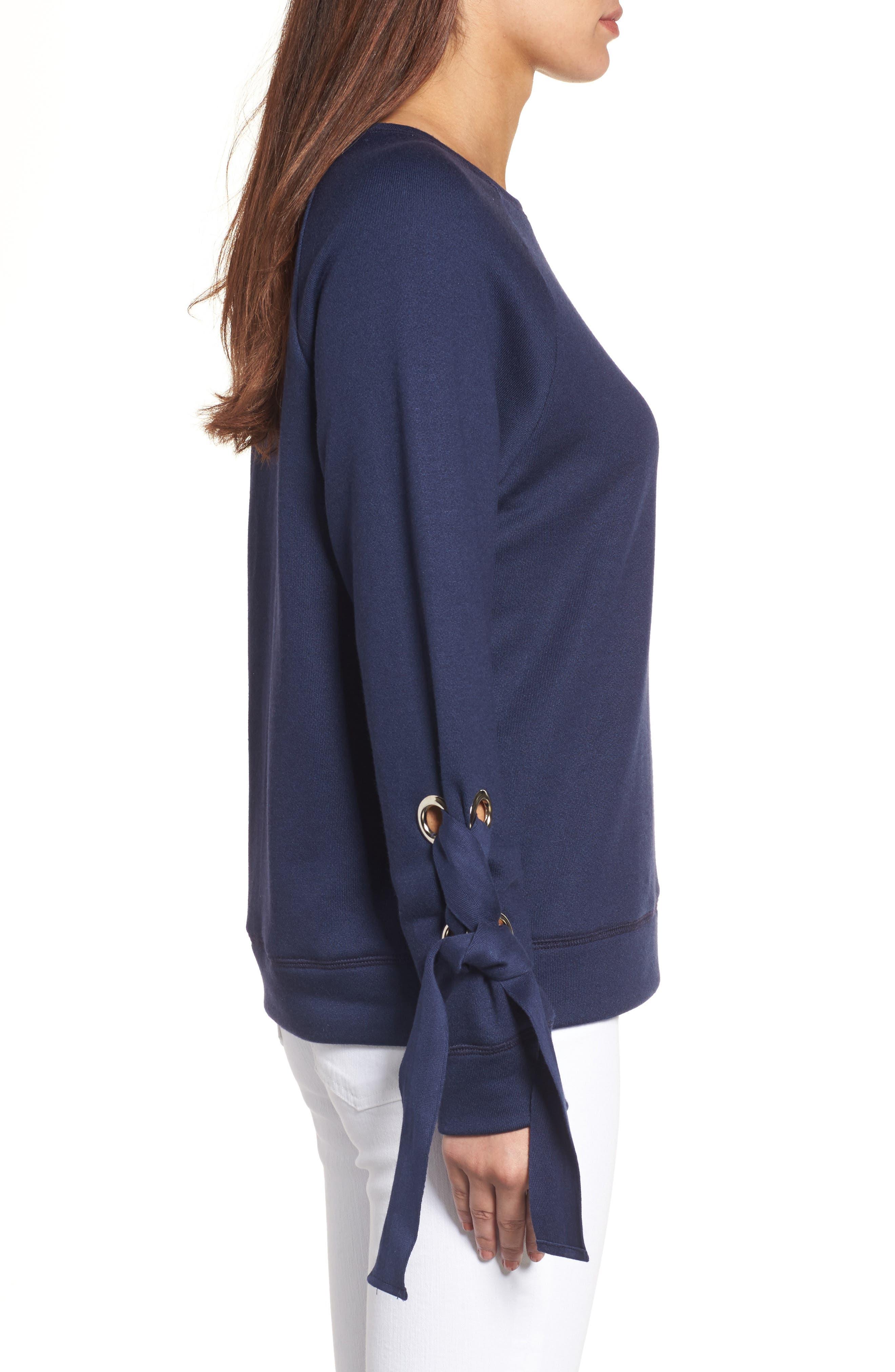 Alternate Image 3  - Halogen® Tie Sleeve Sweatshirt (Regular & Petite)