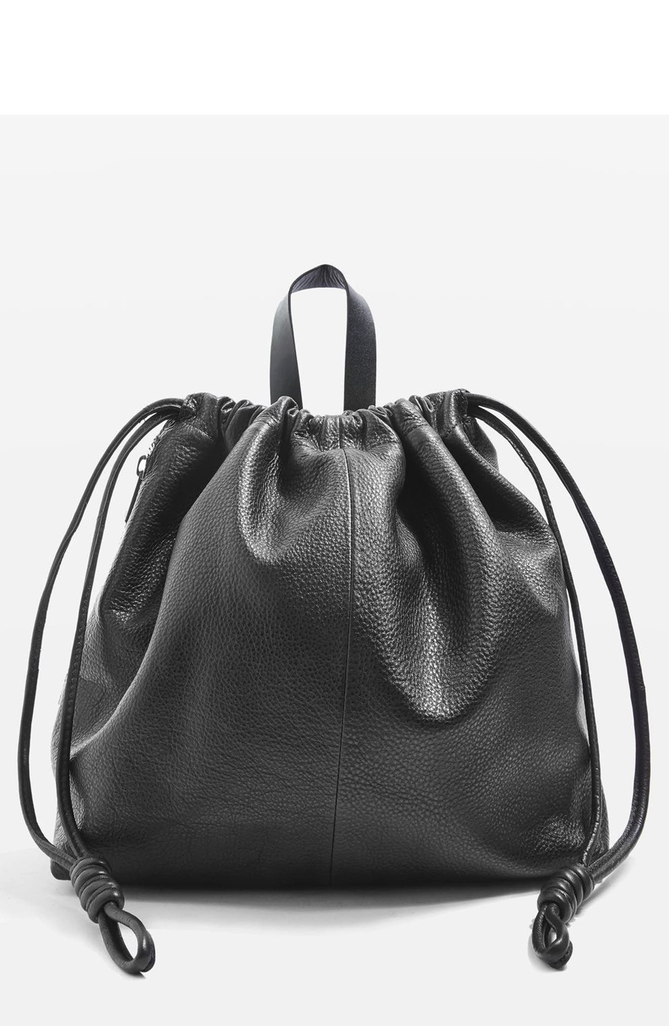 Topshop Leather Drawstring Backpack