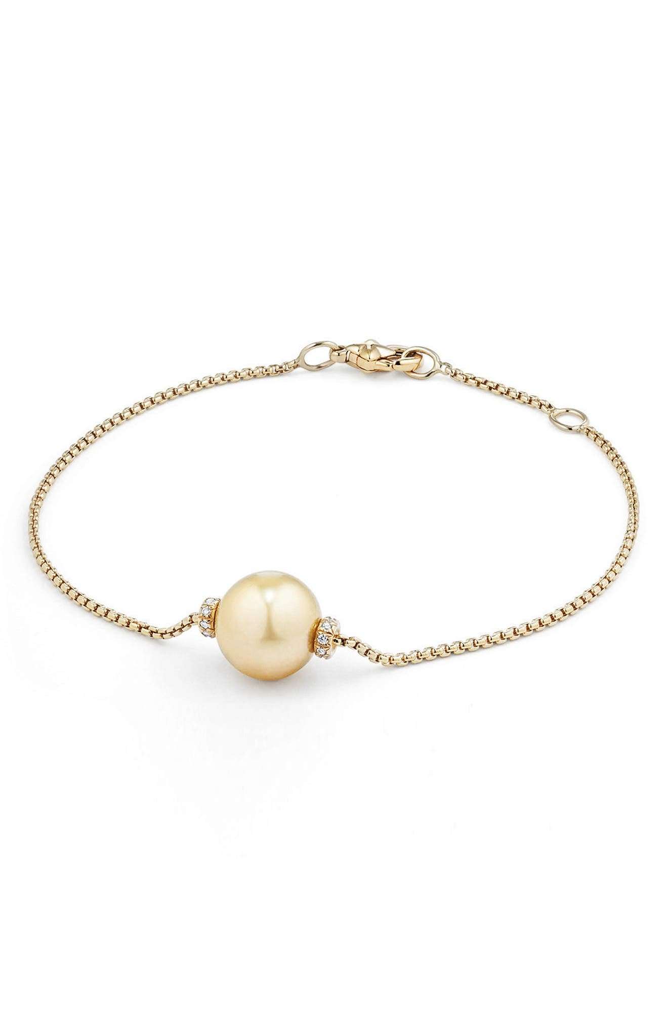 David Yurman Solari Single Station Bracelet in 18k Gold with Diamonds & Pearl