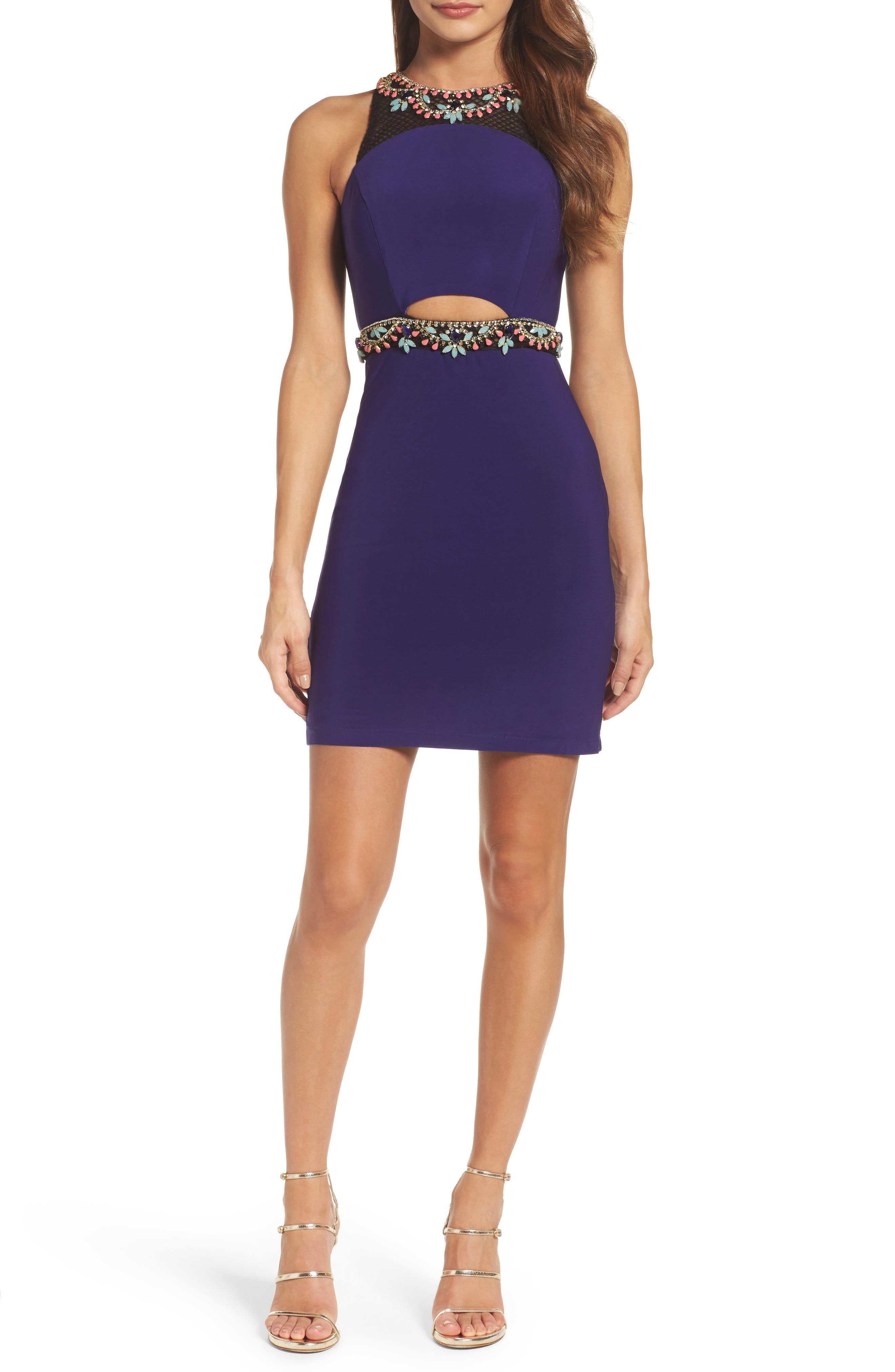 Mac Duggal Embellished Cutout Sheath Dress