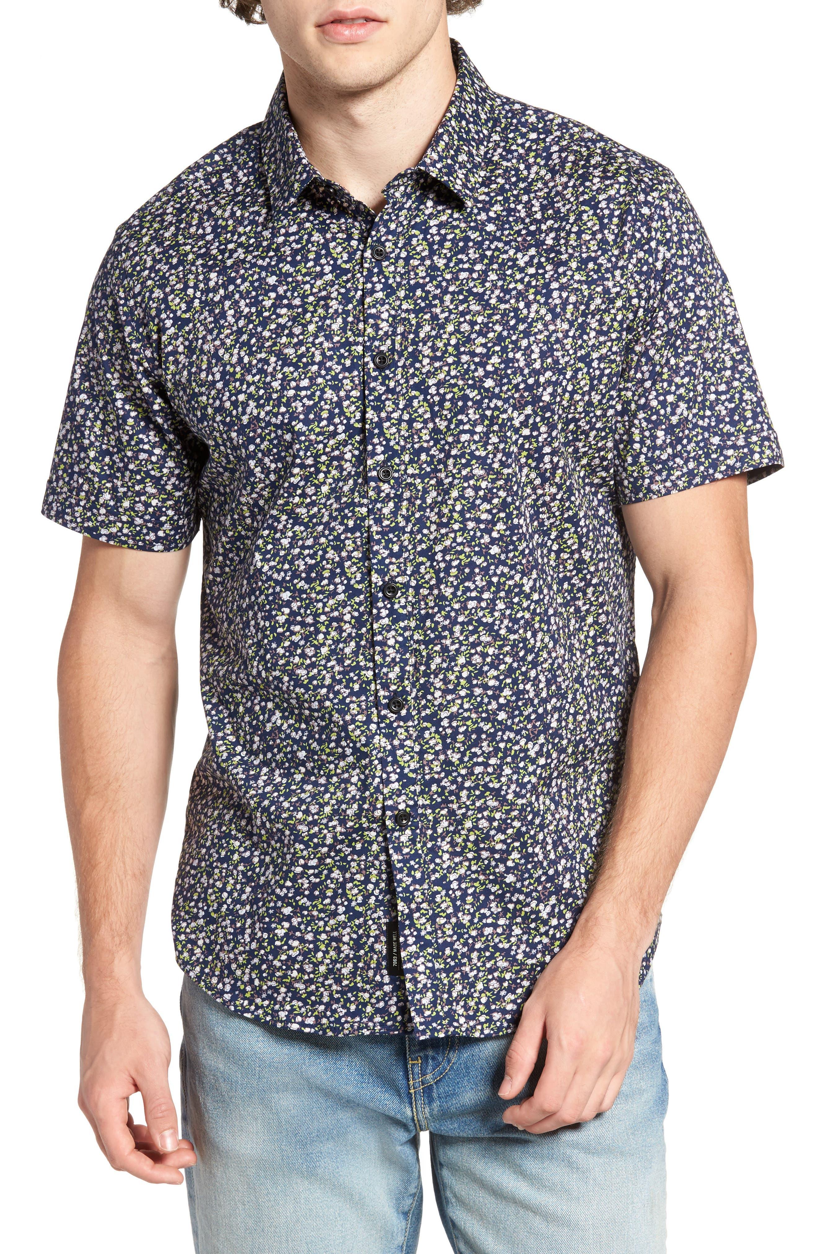 7 Diamonds Night Fall Floral Print Short Sleeve Sport Shirt