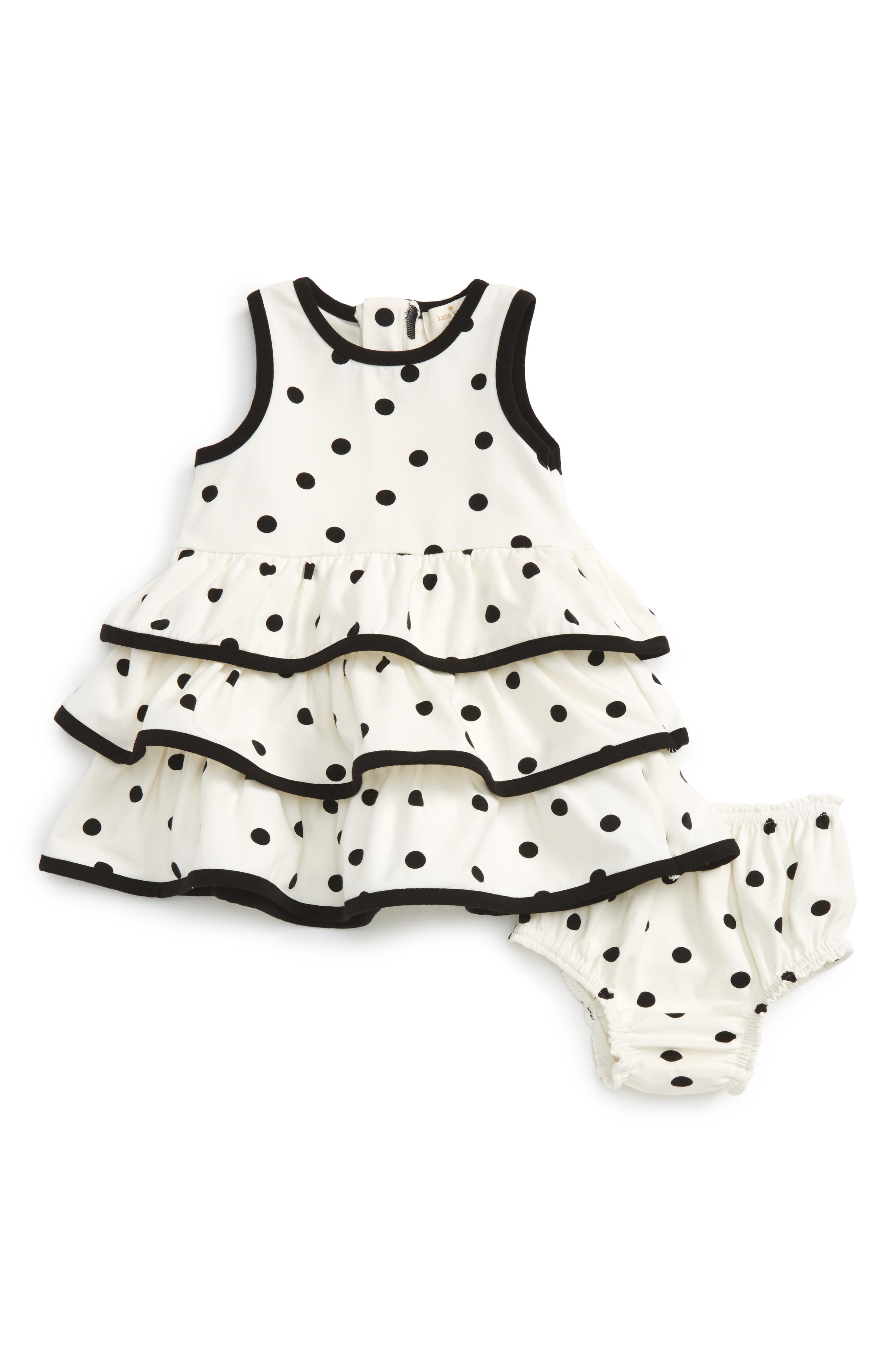 kate spade new york tiered ruffle polka dot dress (Baby Girls)