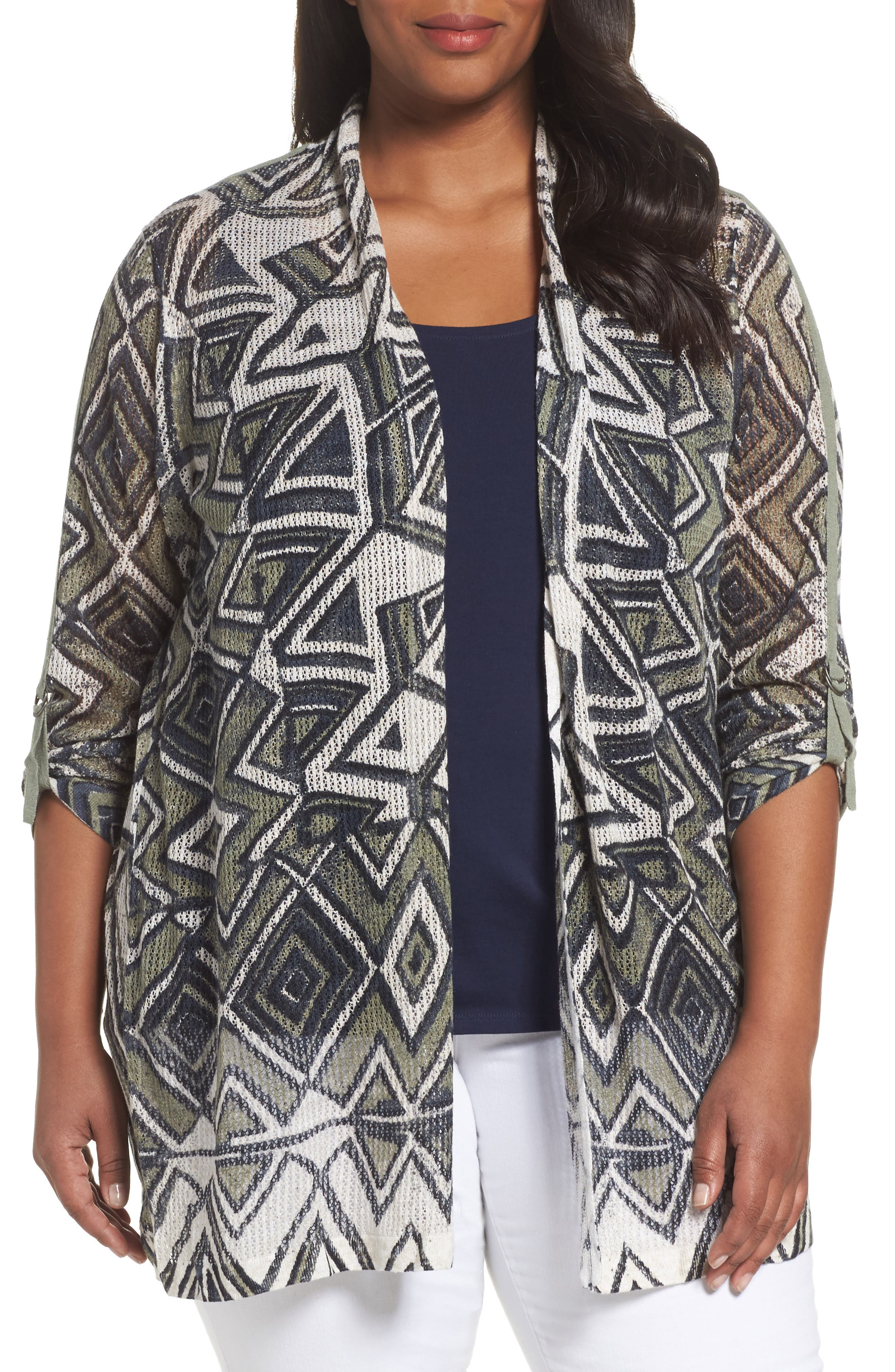 NIC+ZOE Mountain Dreams Lightweight Linen Blend Cardigan (Plus Size)