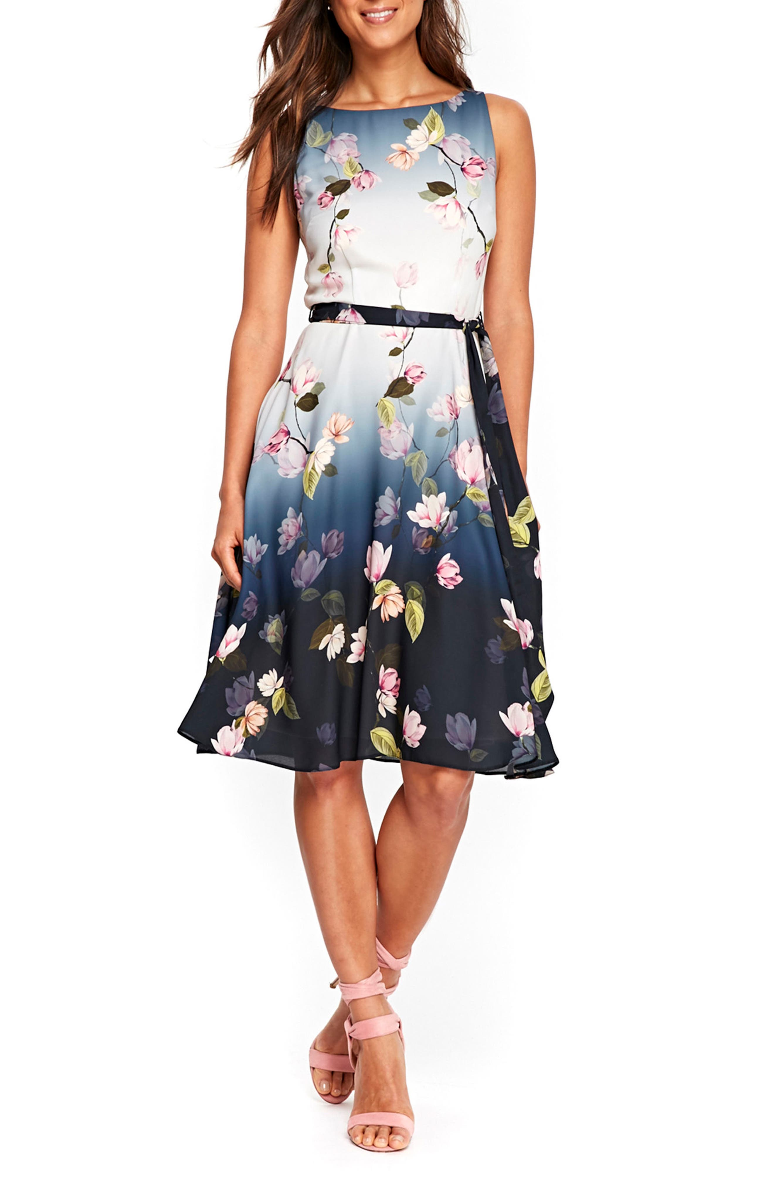 Wallis Ombré Water Lily Fit & Flare Dress