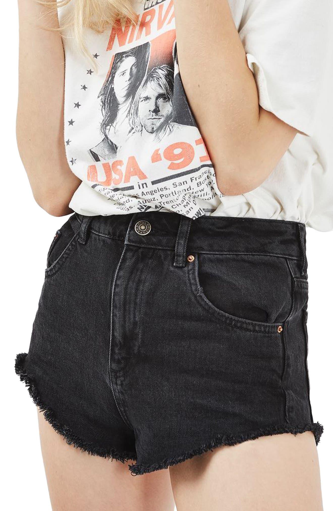 Topshop Kiri Denim Shorts (Washed Black)