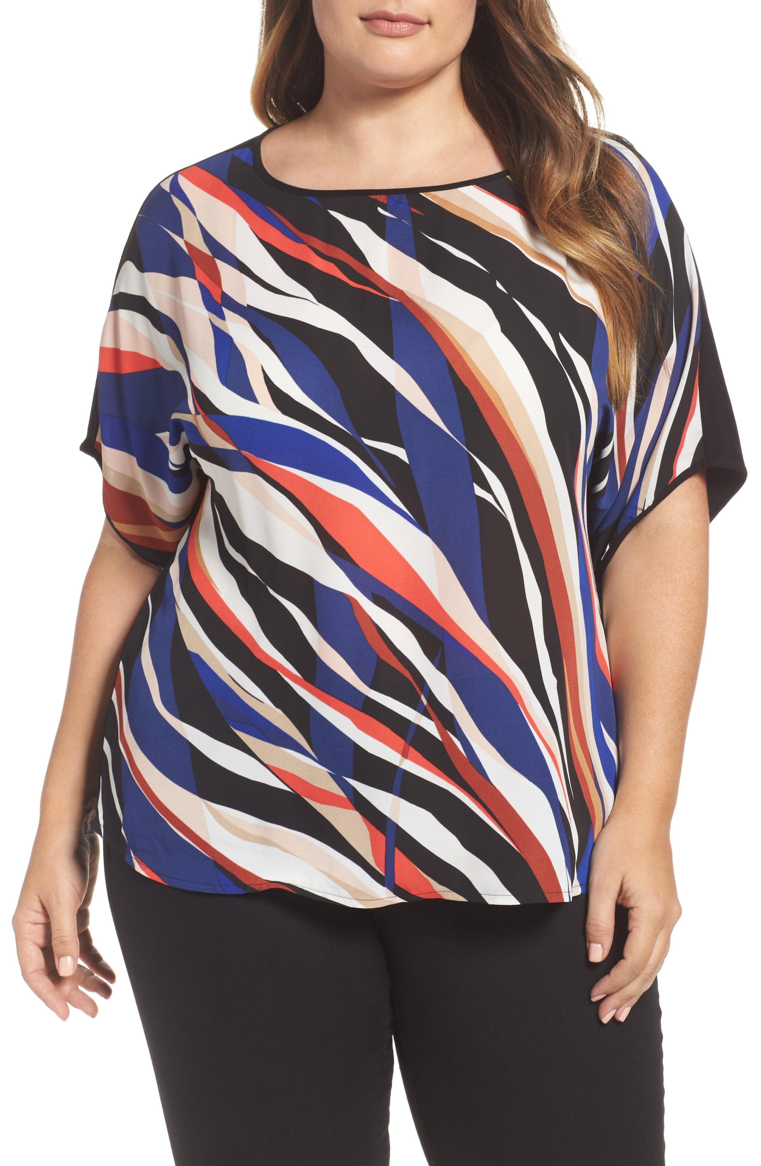 Vince Camuto Graphic Zebra Dolman Tee (Plus Size)