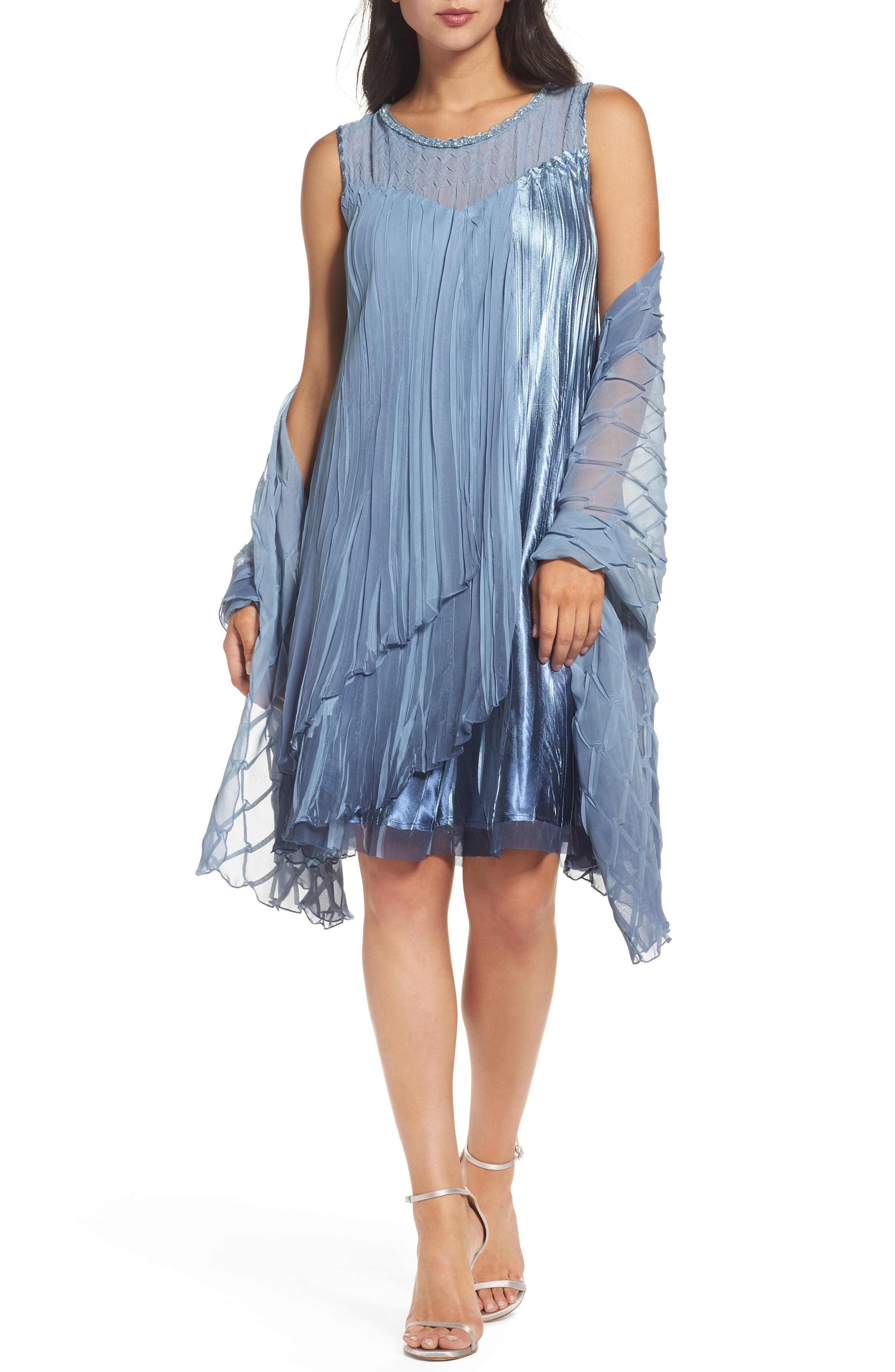 Komarov Embellished Chiffon & Charmeuse Shift Dress with Shawl (Regular & Petite)
