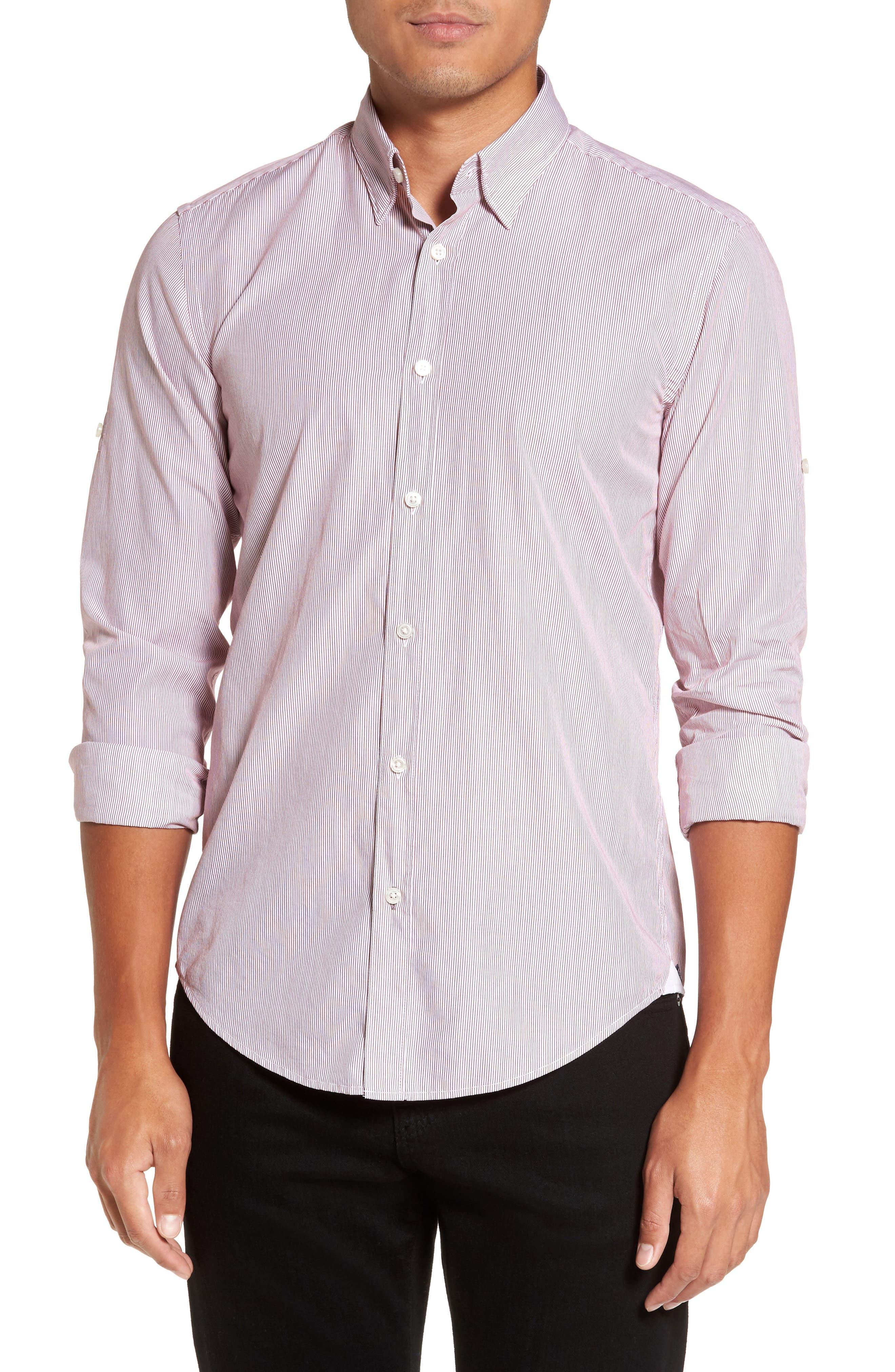 BOSS Hugo Boss Rog Stripe Trim Fit Sport Shirt