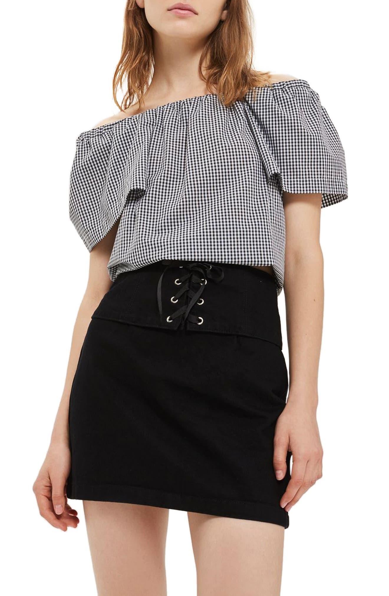 Topshop Corset Detail Denim Skirt