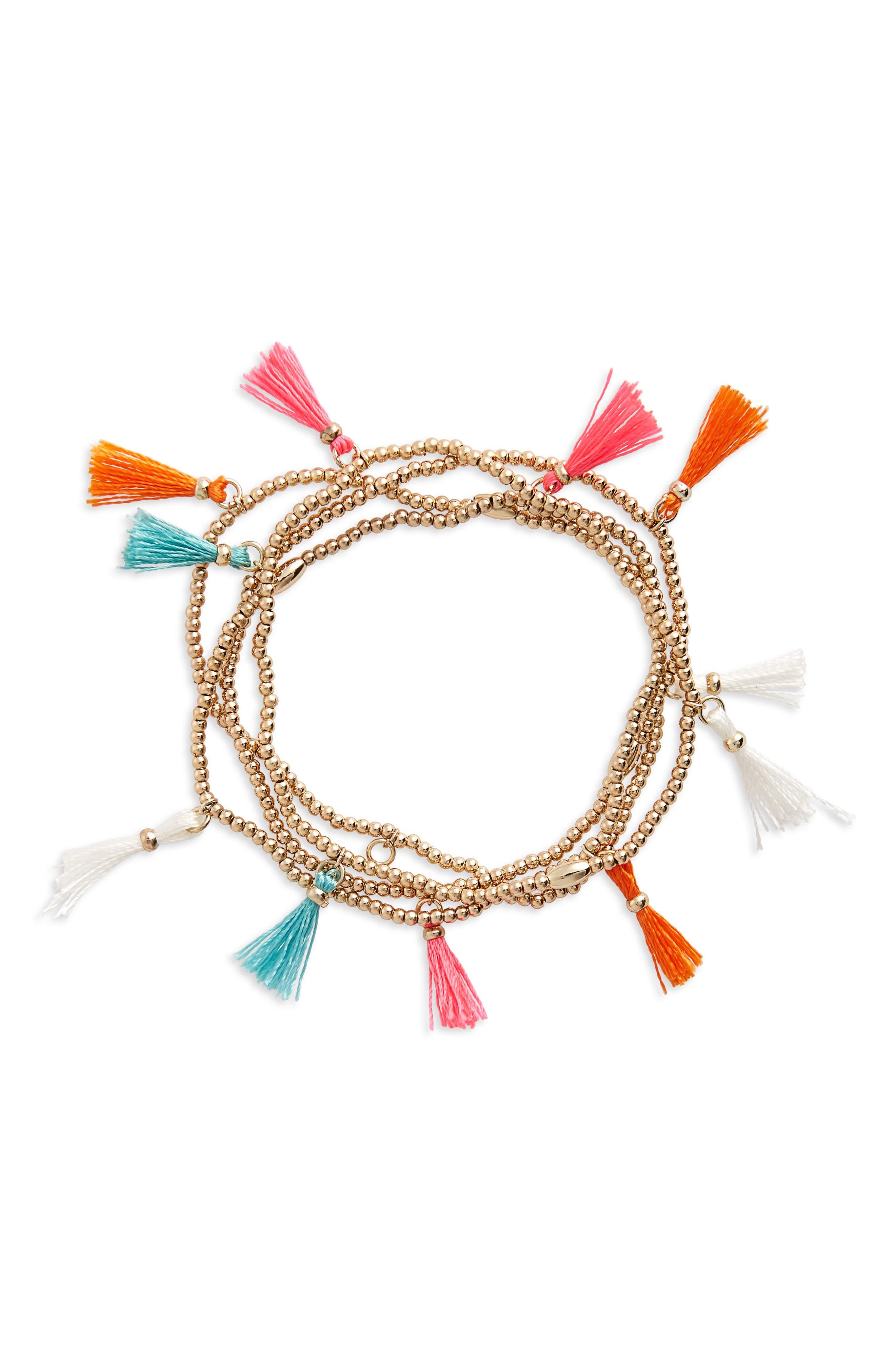 Topshop Folk Tassel Bracelets (Set of 4)