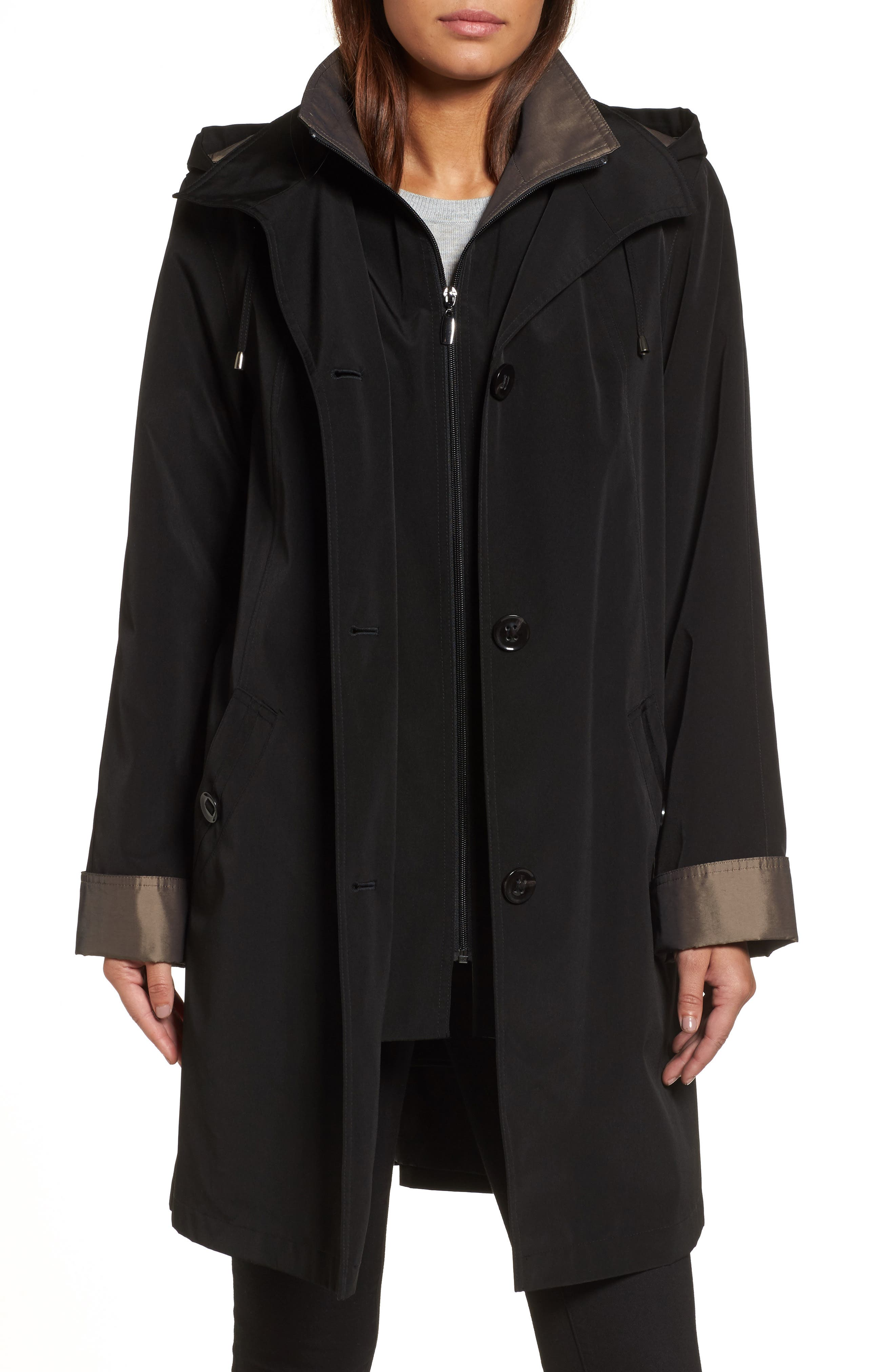 Alternate Image 1 Selected - Gallery A-Line Raincoat with Detachable Hood & Liner (Online Exclusive)