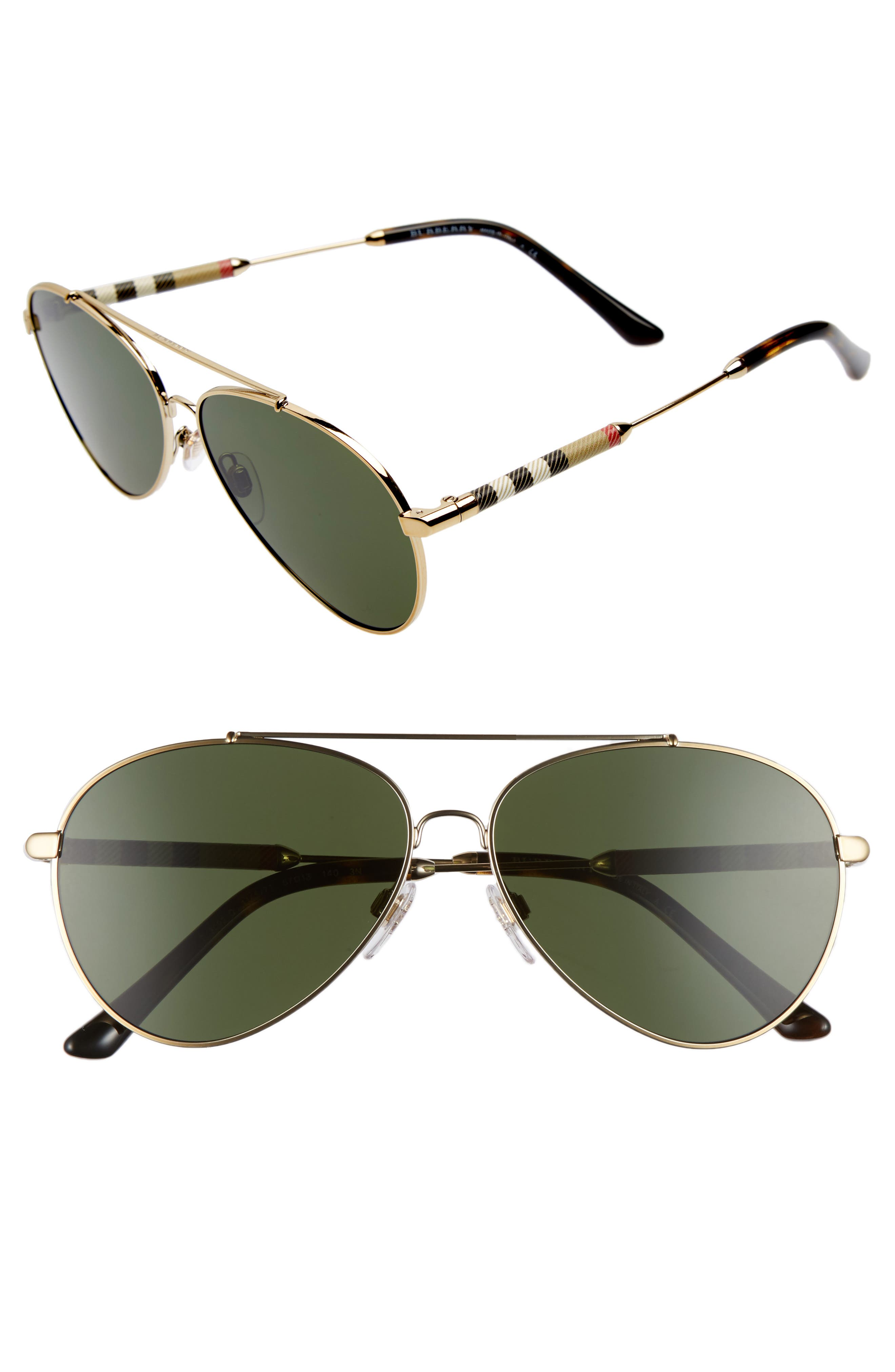 Burberry 57mm Aviator Sunglasses