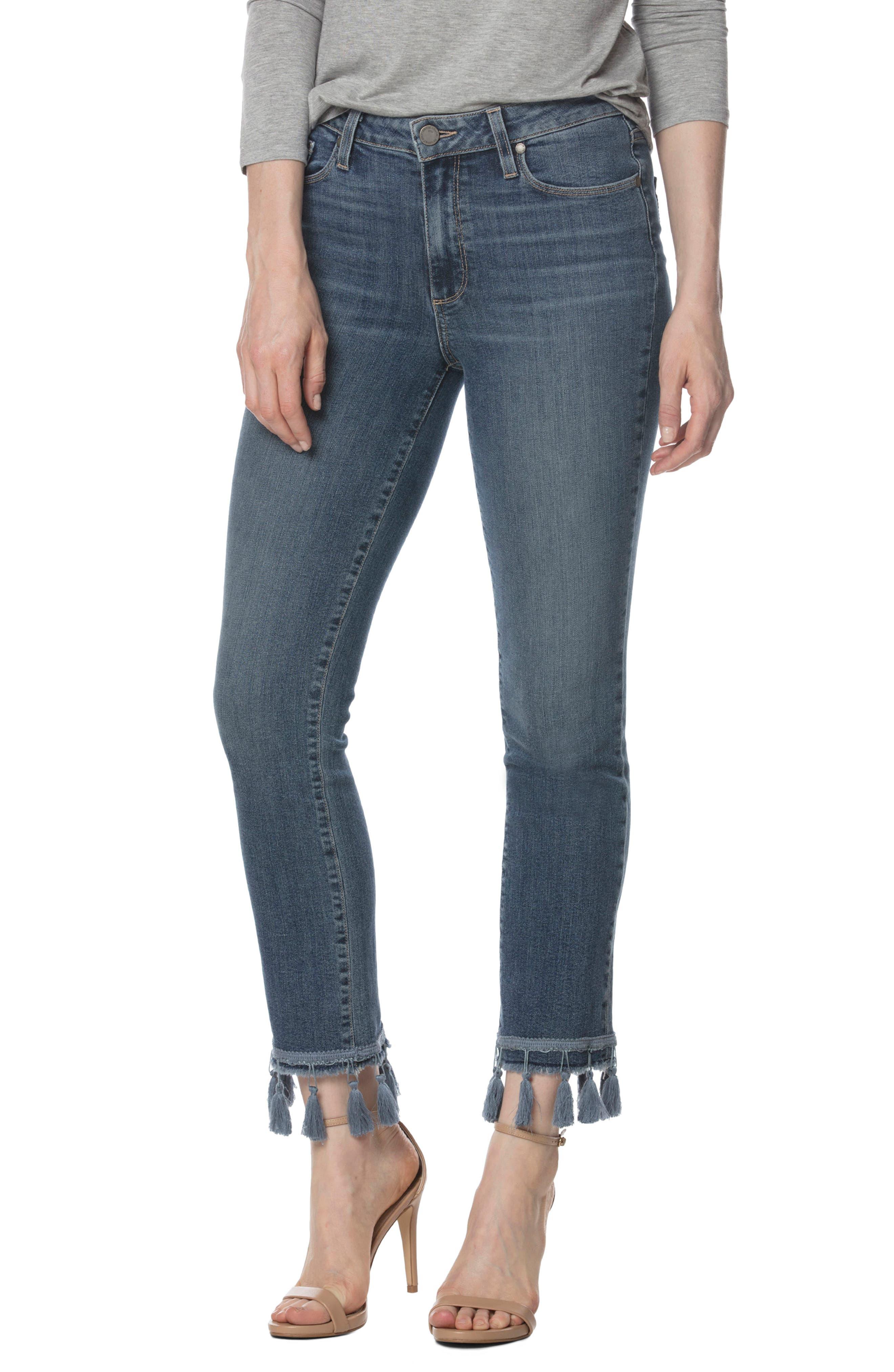 PAGE Jacqueline High Waist Ankle Straight Leg Jeans (Indigo Tassel)