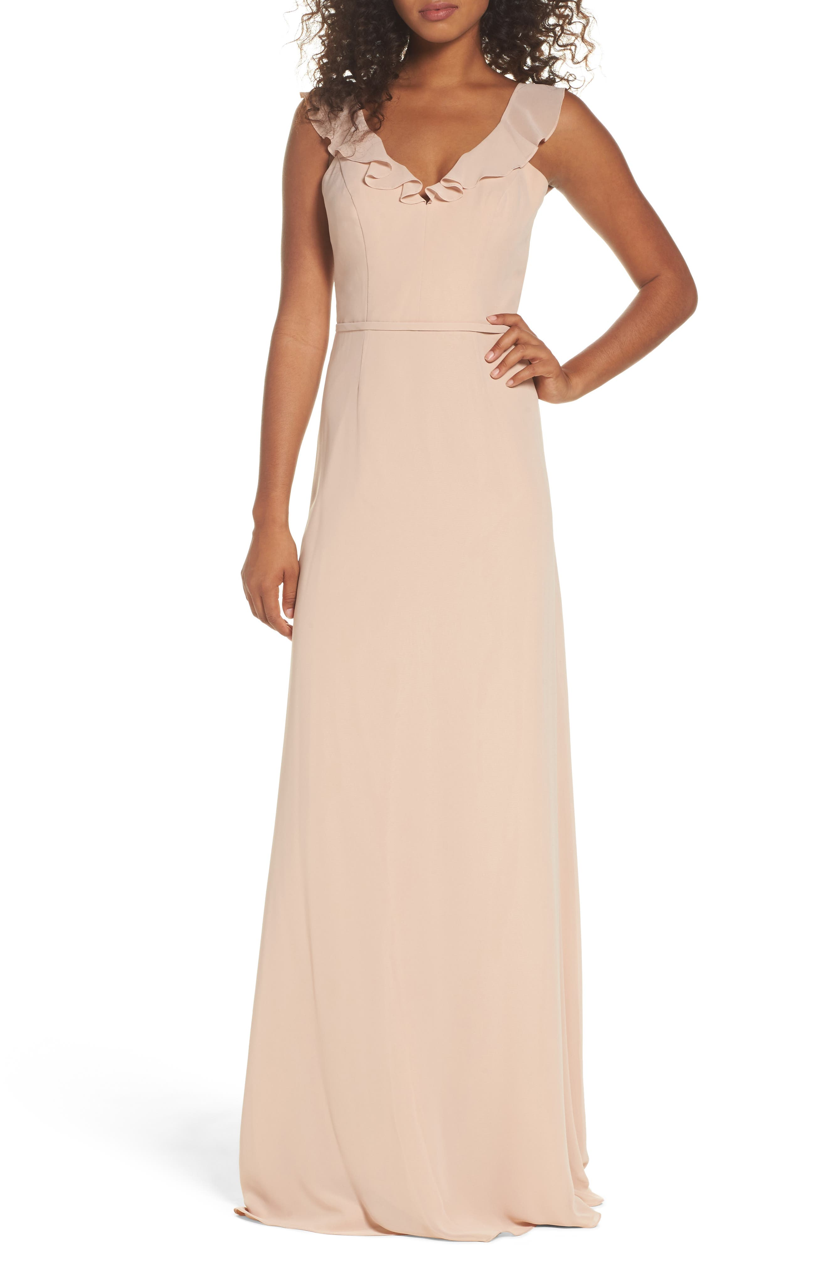 Monique Lhuillier Bridesmaids Keira Backless Chiffon Gown (Nordstrom Exclusive)