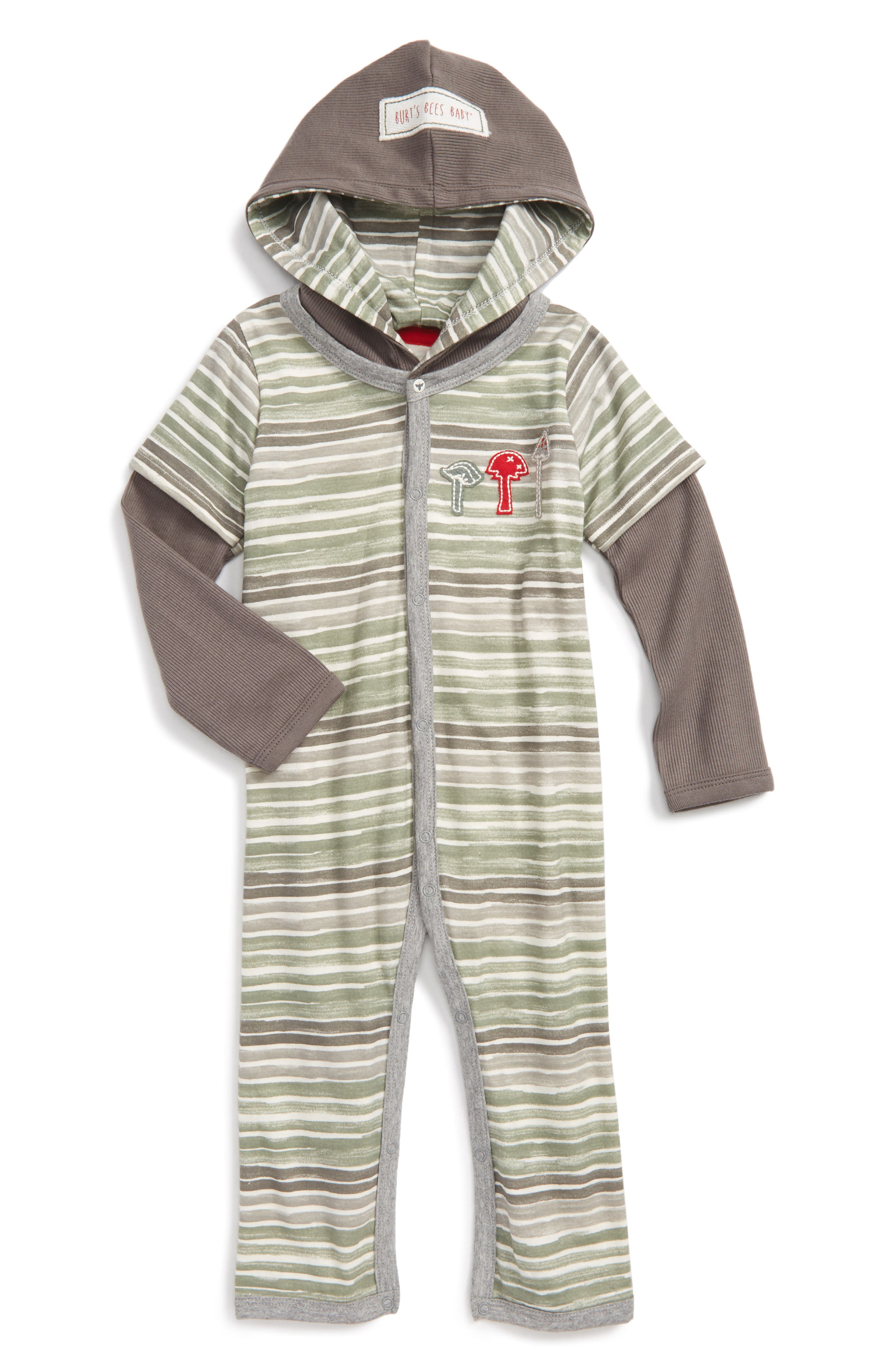 Burt's Bees Baby Organic Cotton Hooded Romper (Baby Boys)