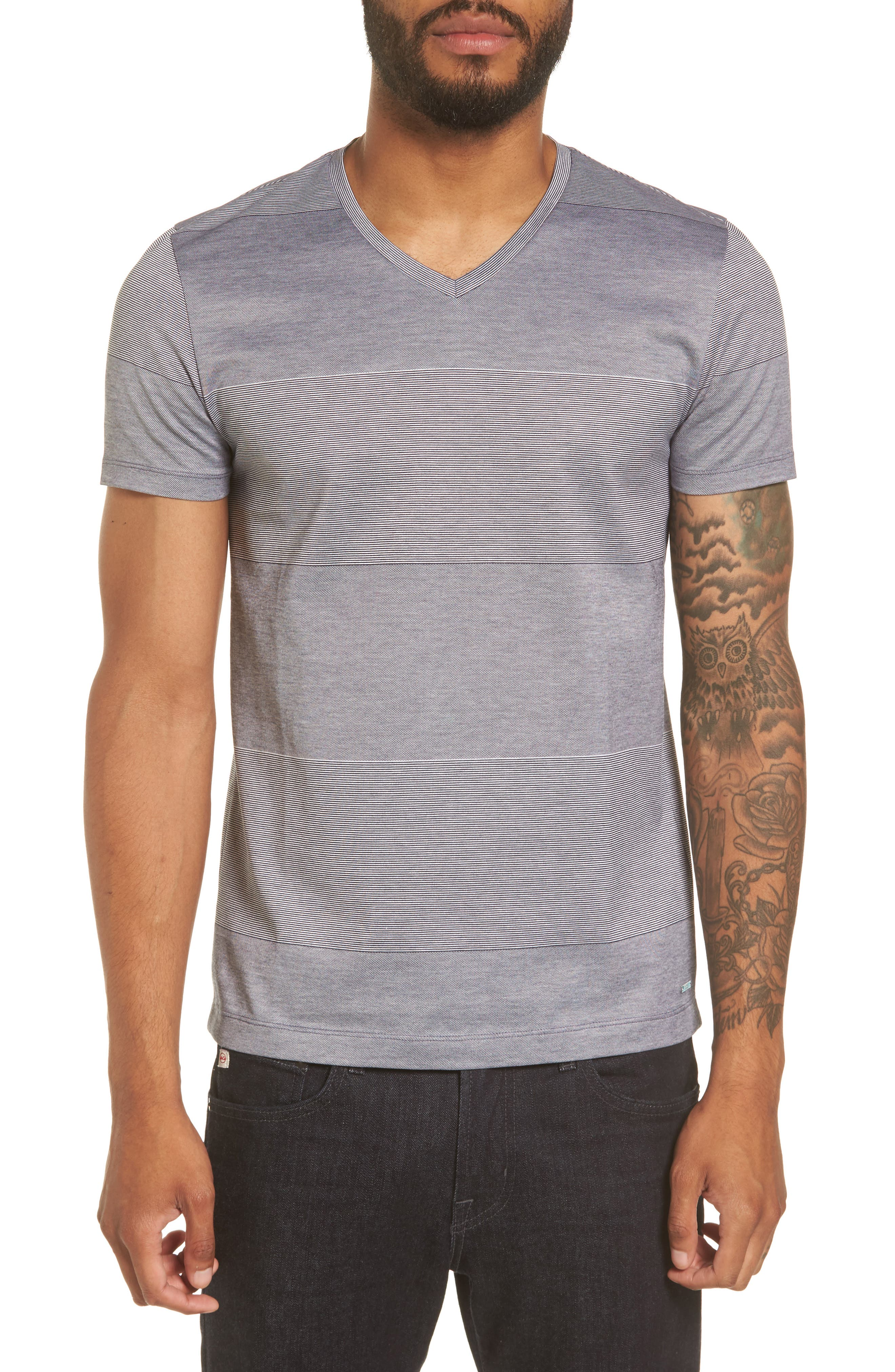 BOSS Slim Fit Stripe V-Neck T-Shirt