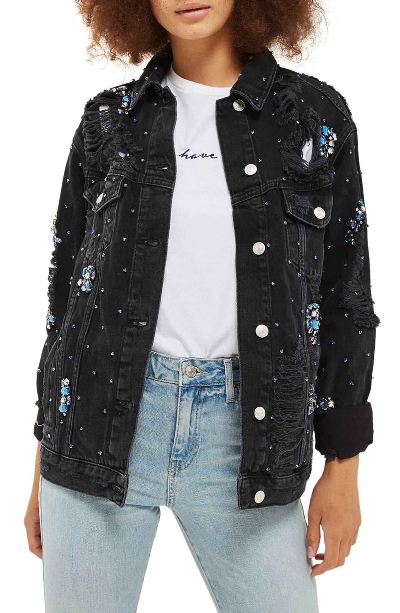 Topshop Embellished Oversize Denim Jacket