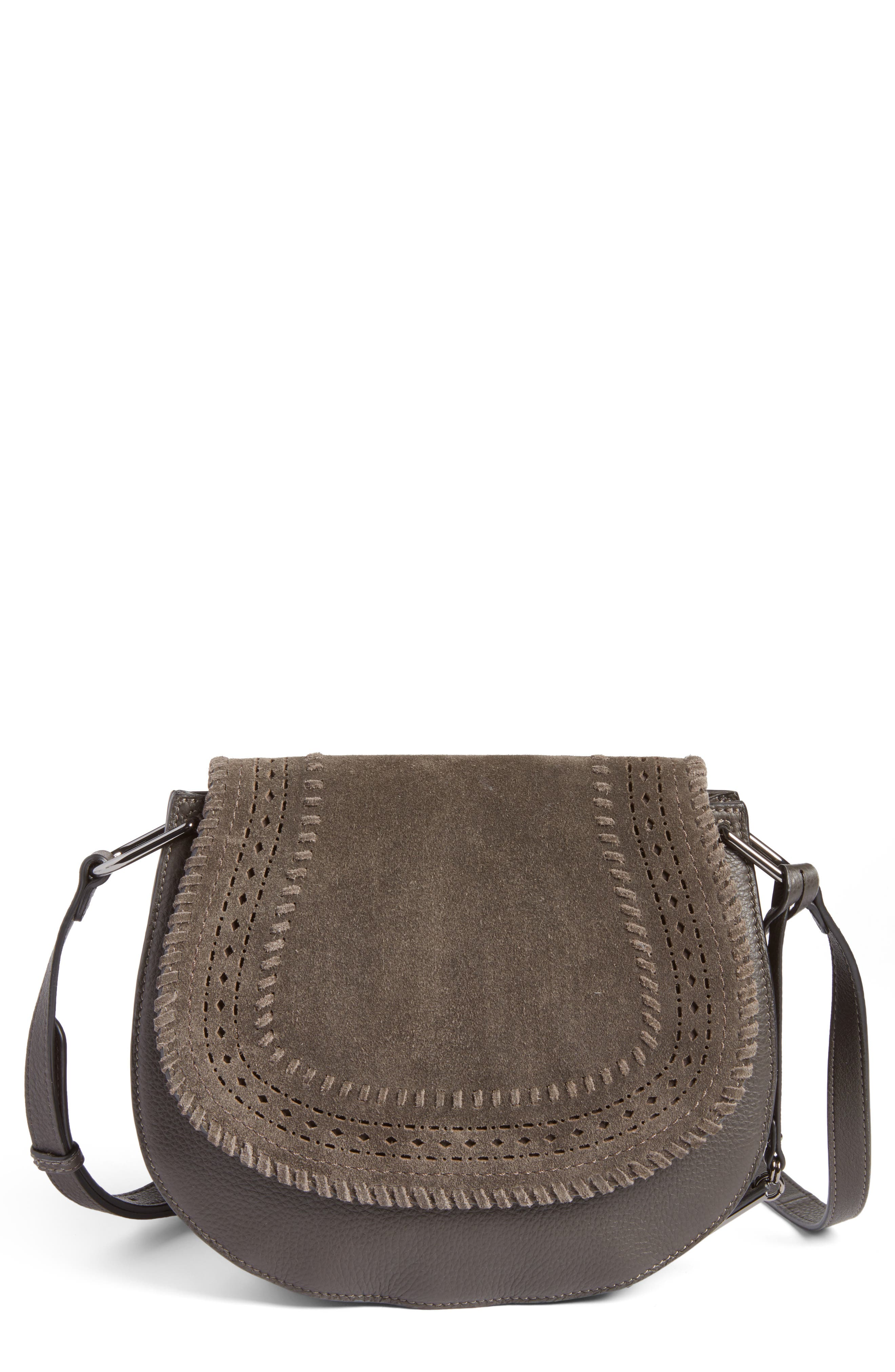 Vince Camuto Kirie Suede & Leather Crossbody Saddle Bag (Nordstrom Exclusive)