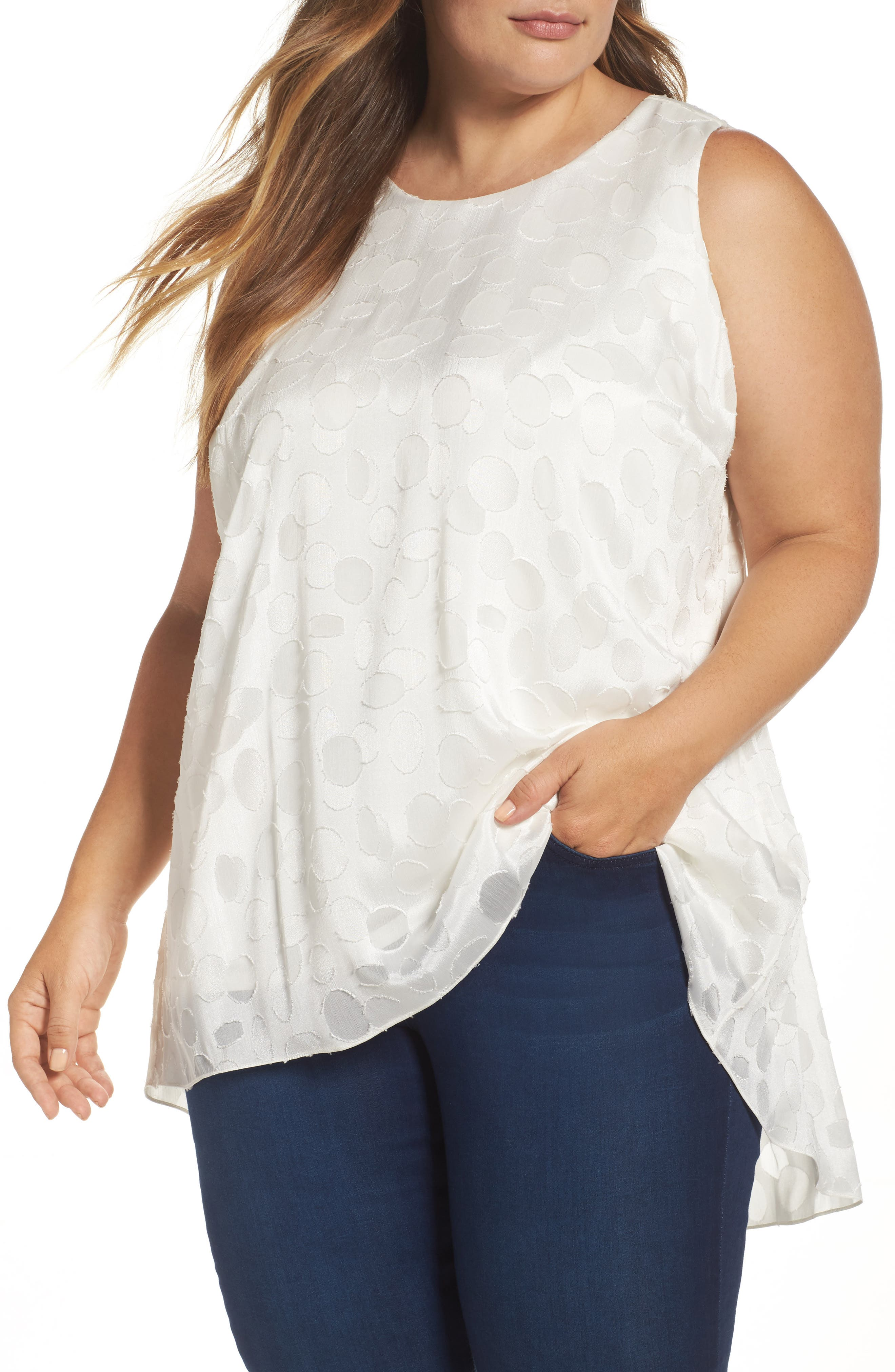 Vince Camuto Sheer Clipped Dot Sleeveless Top (Plus Size)