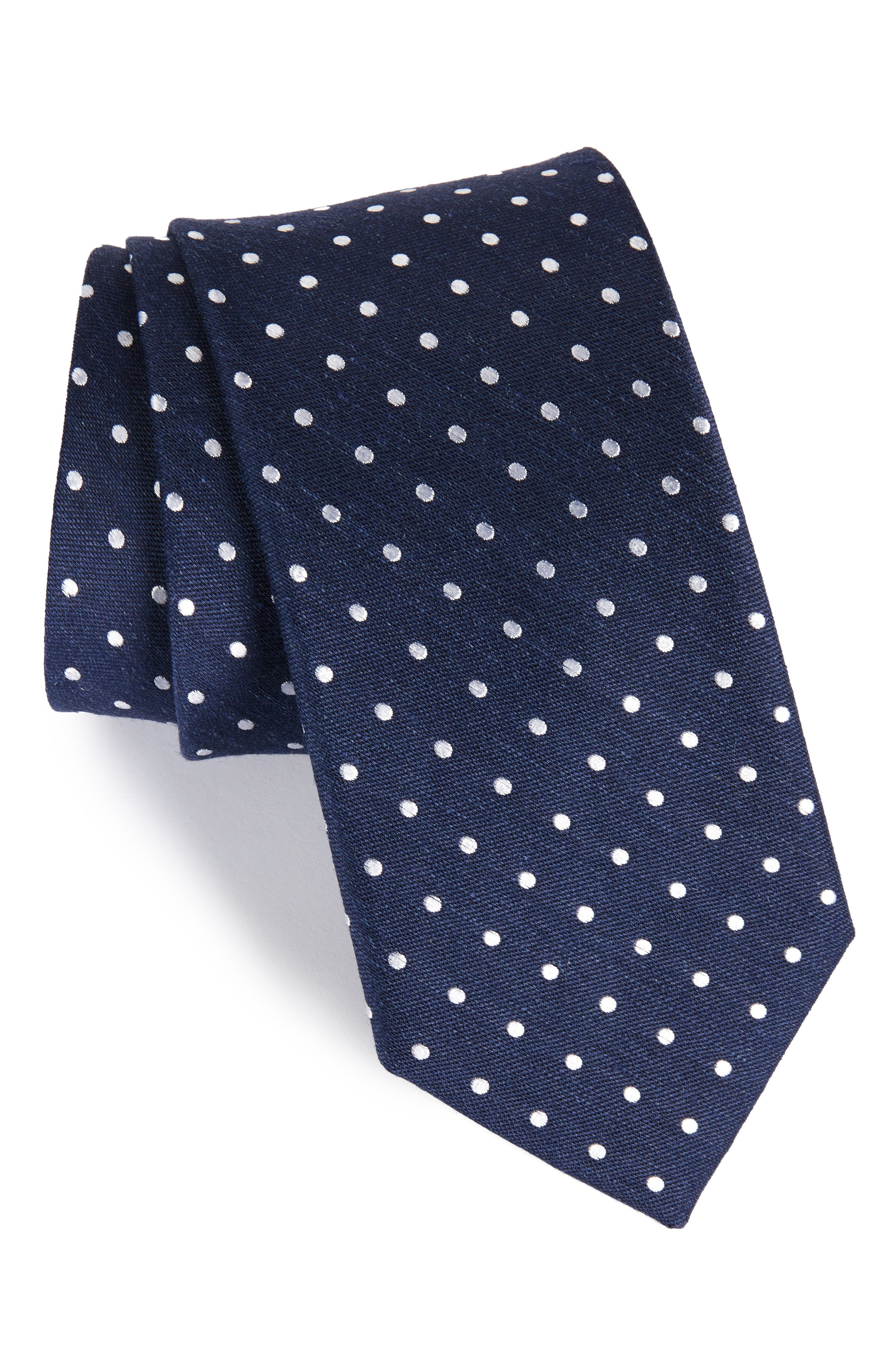 The Tie Bar Dotted Dots Silk & Linen Tie