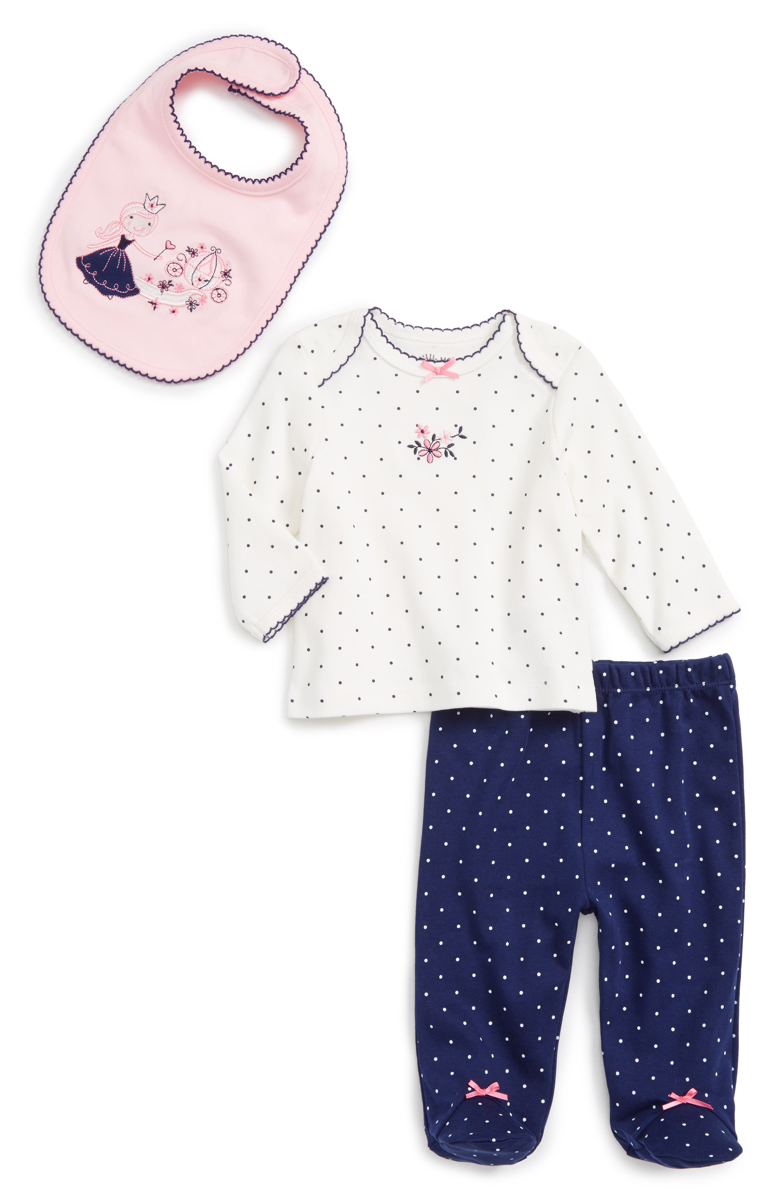 Little Me Princess Tee, Pants & Bib Set (Baby Girls)