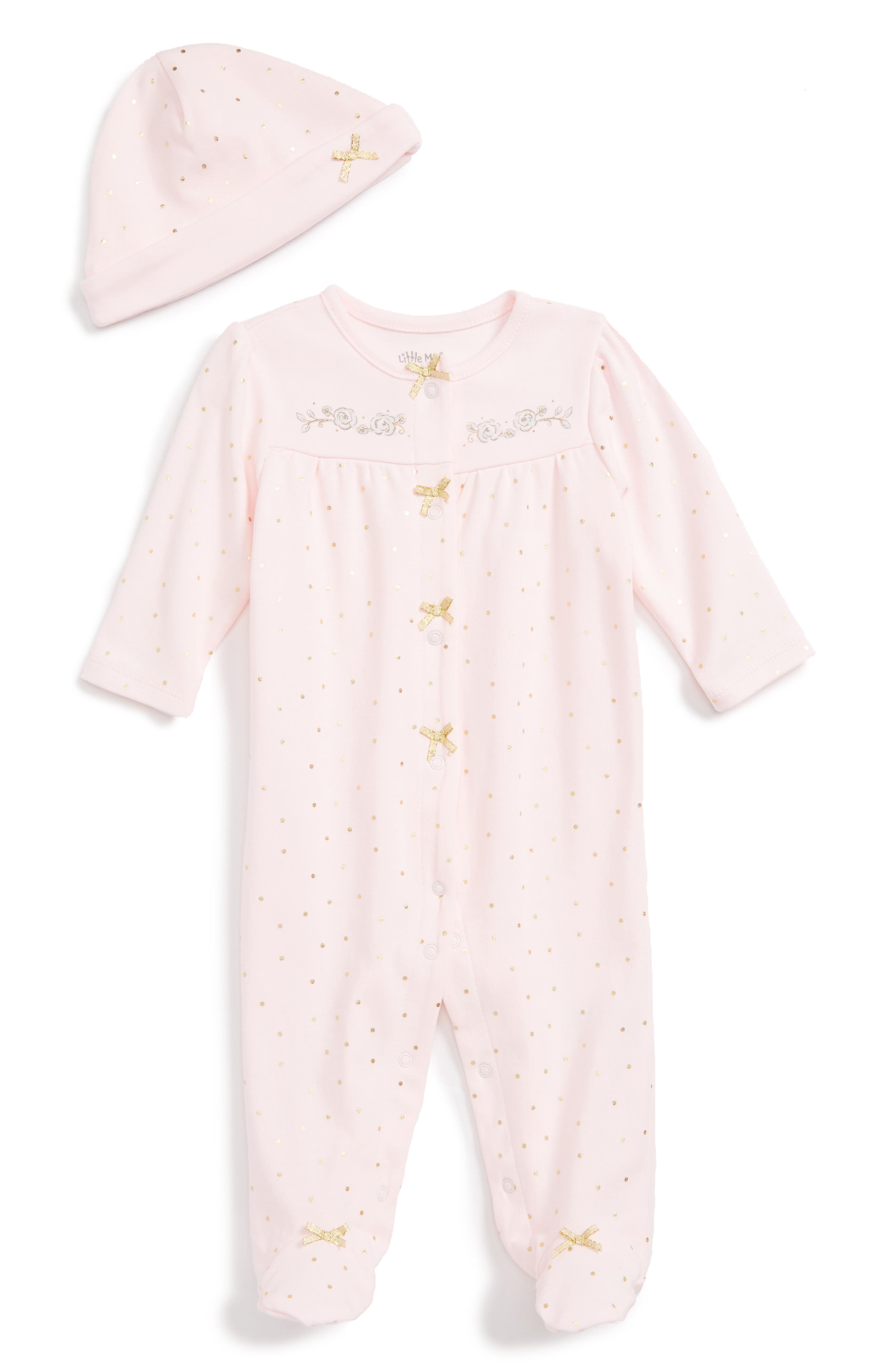 Little Me Rose Gold Footie & Beanie Set (Baby)