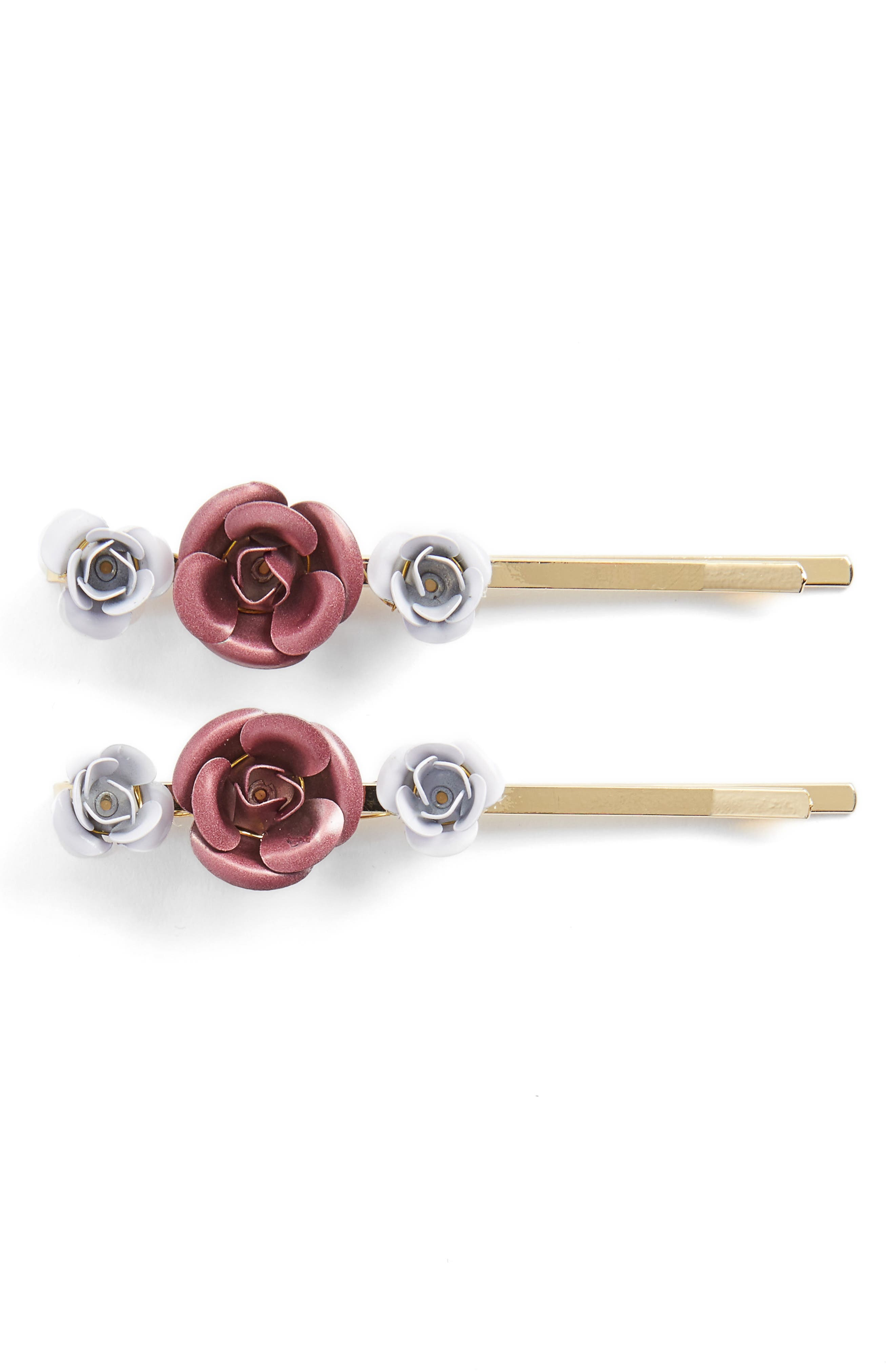 Berry 2-Pack Metal Flower Bobby Pins