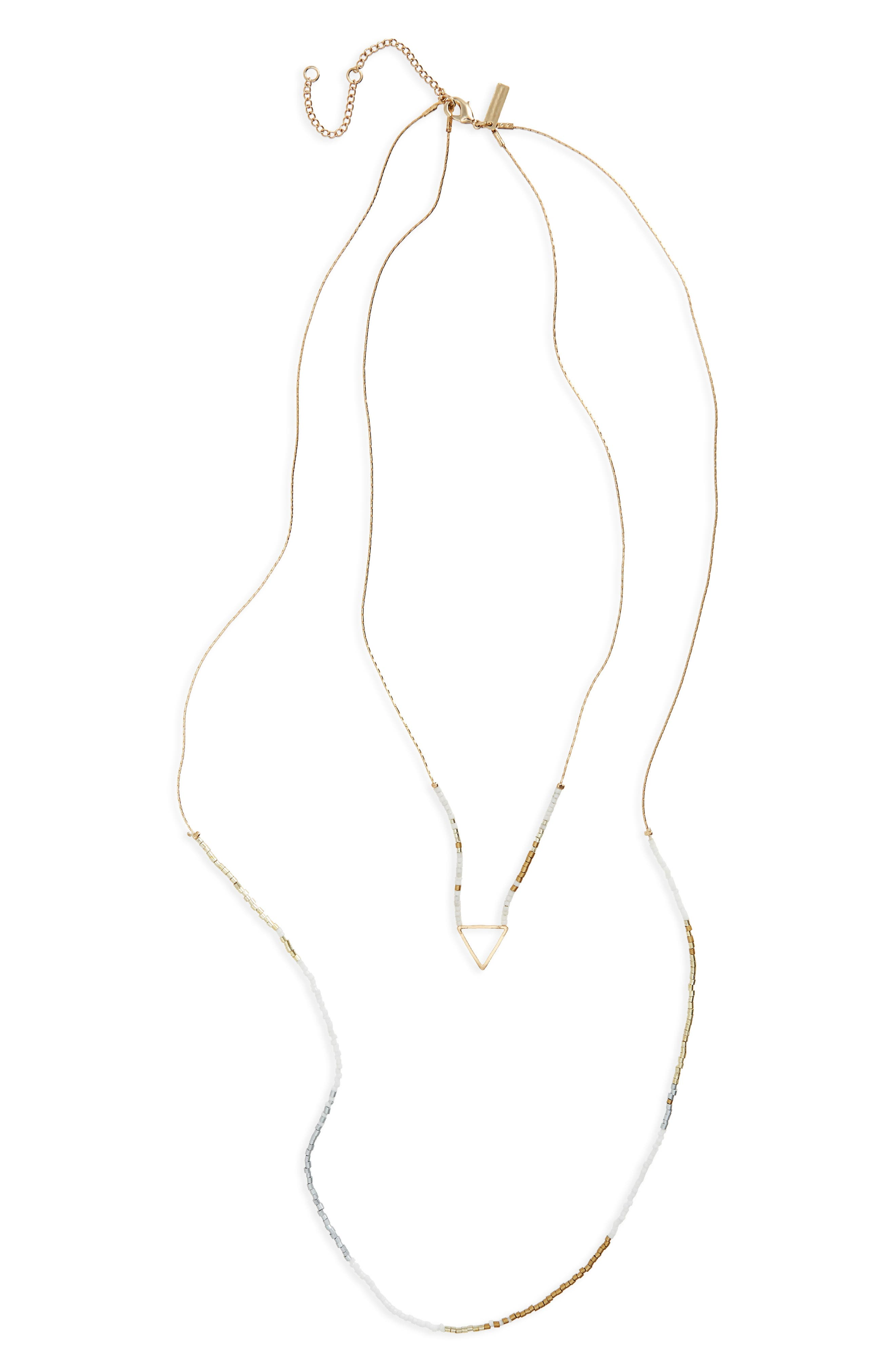 Topshop Triangle Charm Beaded Layer Necklace