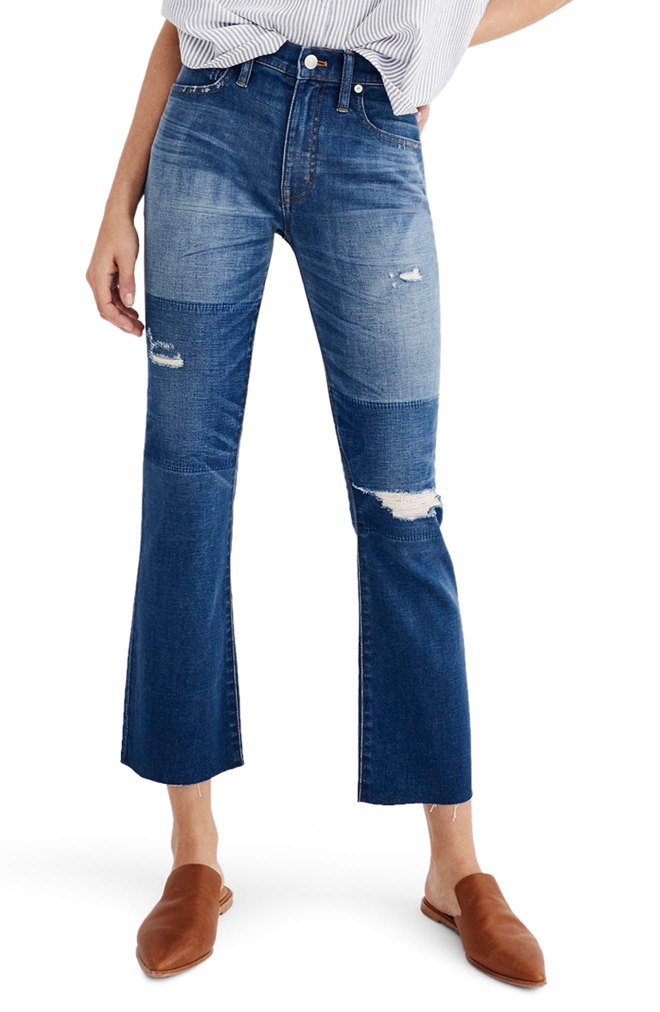 Madewell Cali Ripped Demi Bootleg Crop Jeans (Caleb Wash)