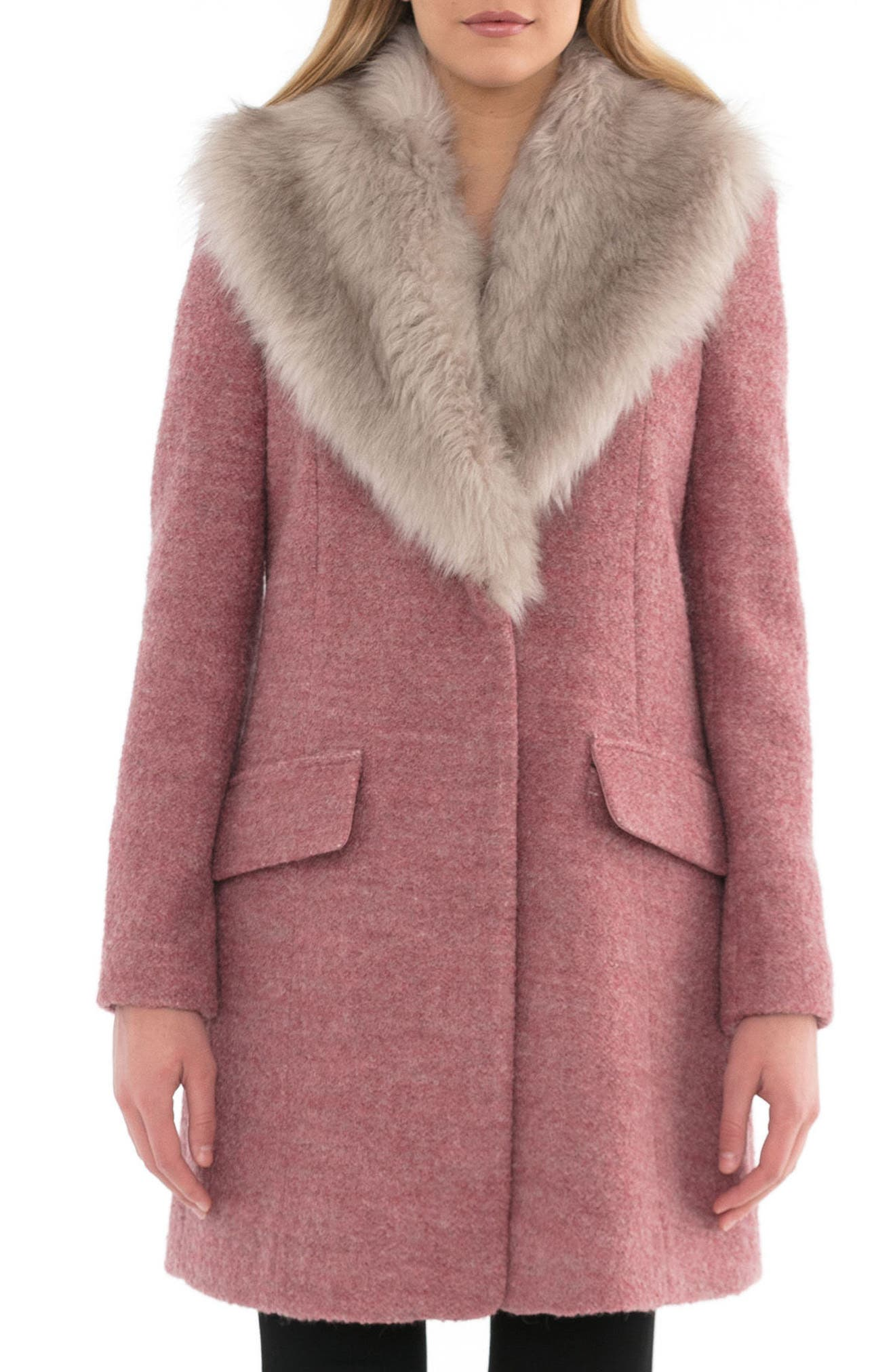 Belle Badgley Mischka 'Holly' Faux Fur Collar Bouclé Coat
